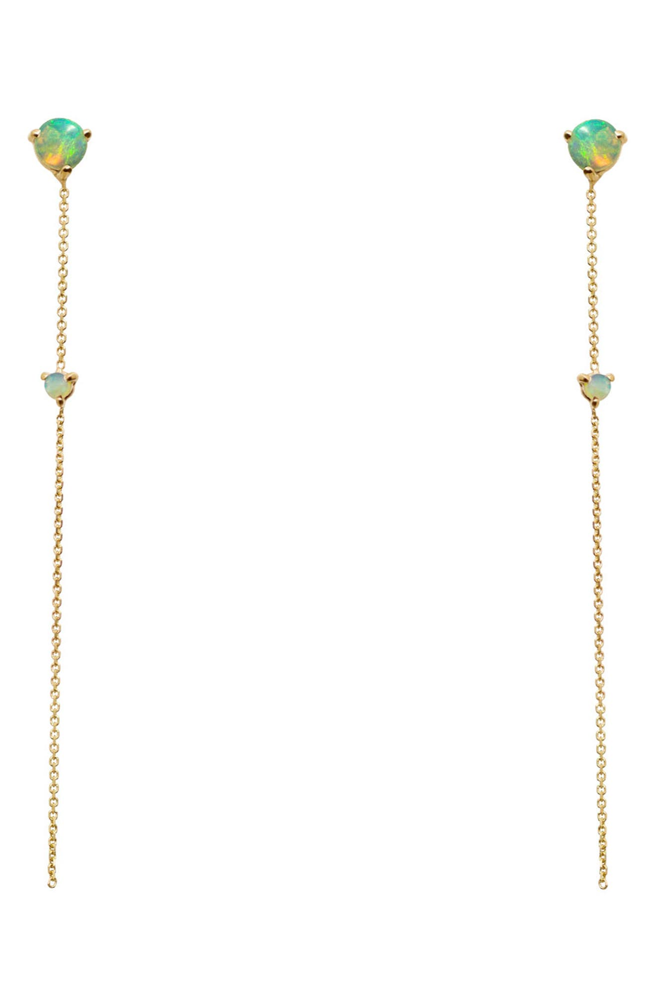 Opal Two-Stone Drop Earrings,                         Main,                         color, 14KT GOLD