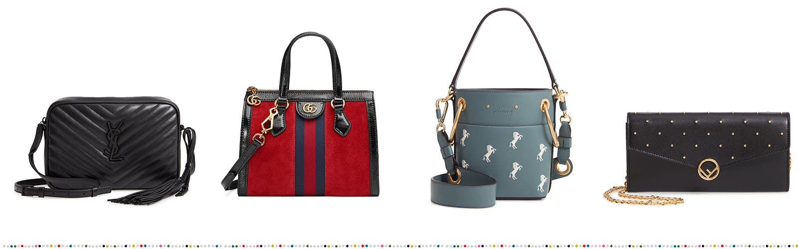 Designer crossbodies, totes, satchels and more handbags and wallets.