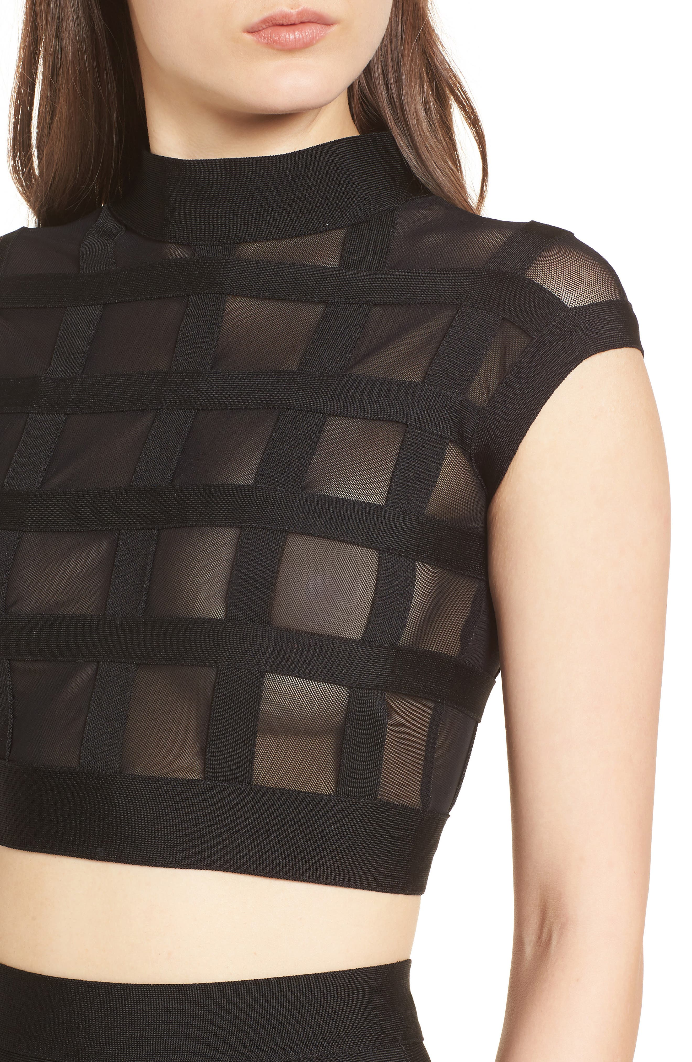 Cagebird Two-Piece Body-Con Dress,                             Alternate thumbnail 4, color,                             BLACK