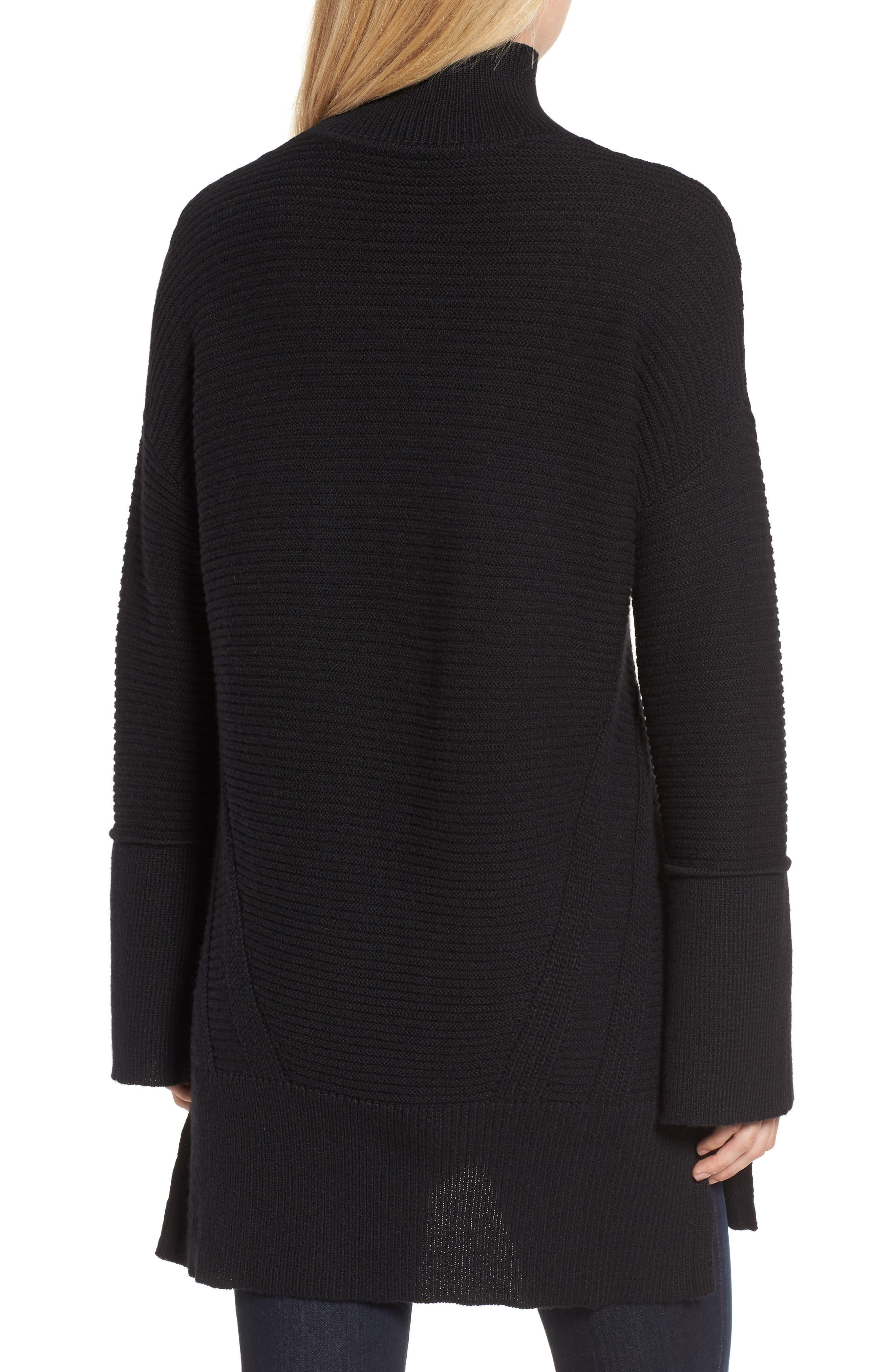Ribbed Turtleneck Tunic Sweater,                             Alternate thumbnail 2, color,                             BLACK