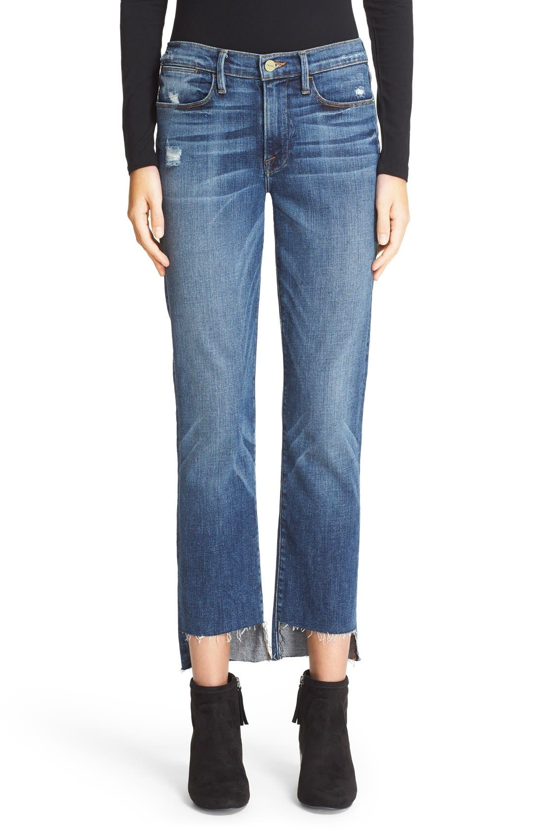 'Le High Straight' High Rise Staggered Hem Jeans,                             Main thumbnail 1, color,                             401