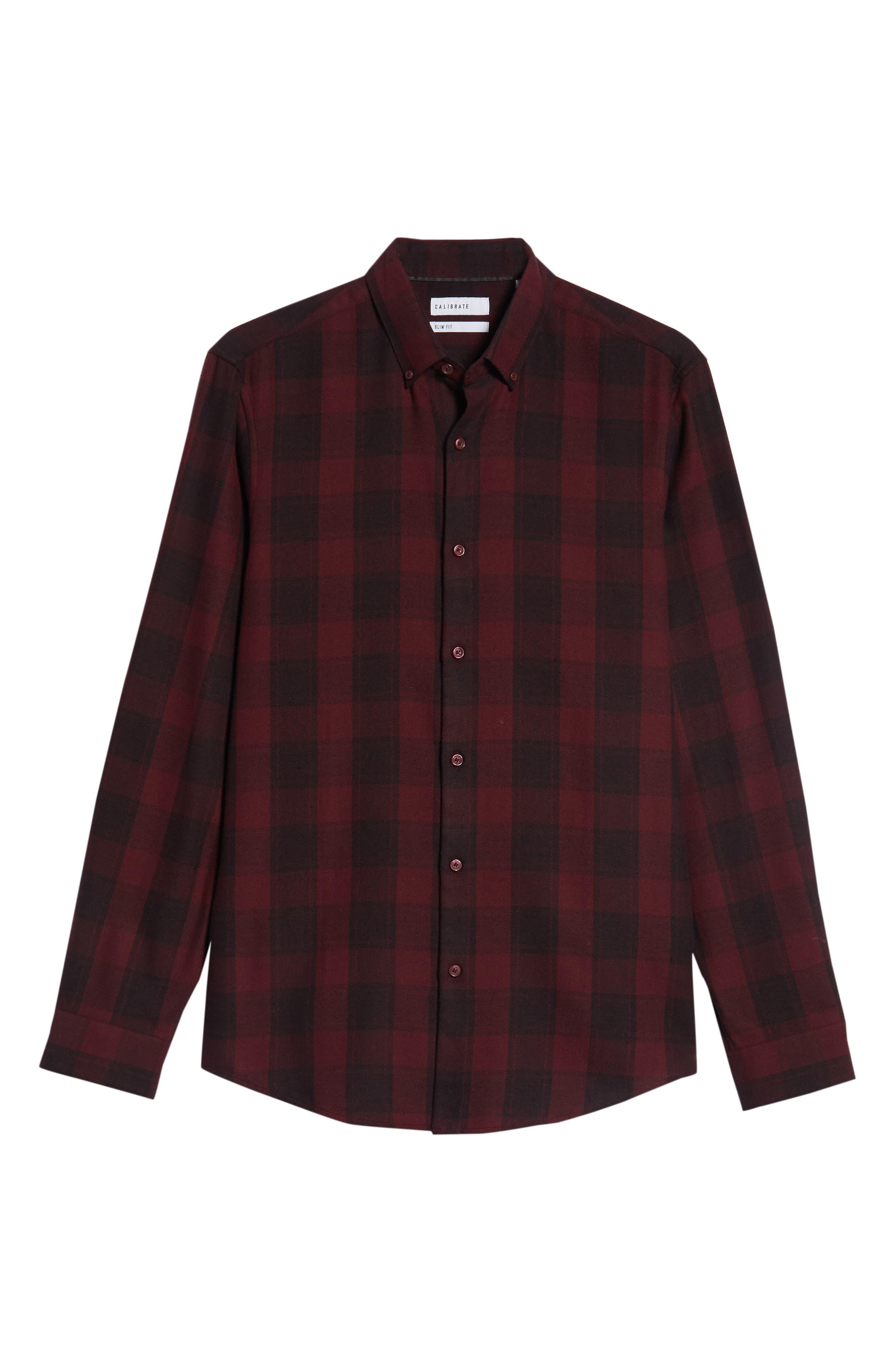 Slim Fit Mini Collar Check Flannel Sport Shirt,                             Alternate thumbnail 5, color,                             930