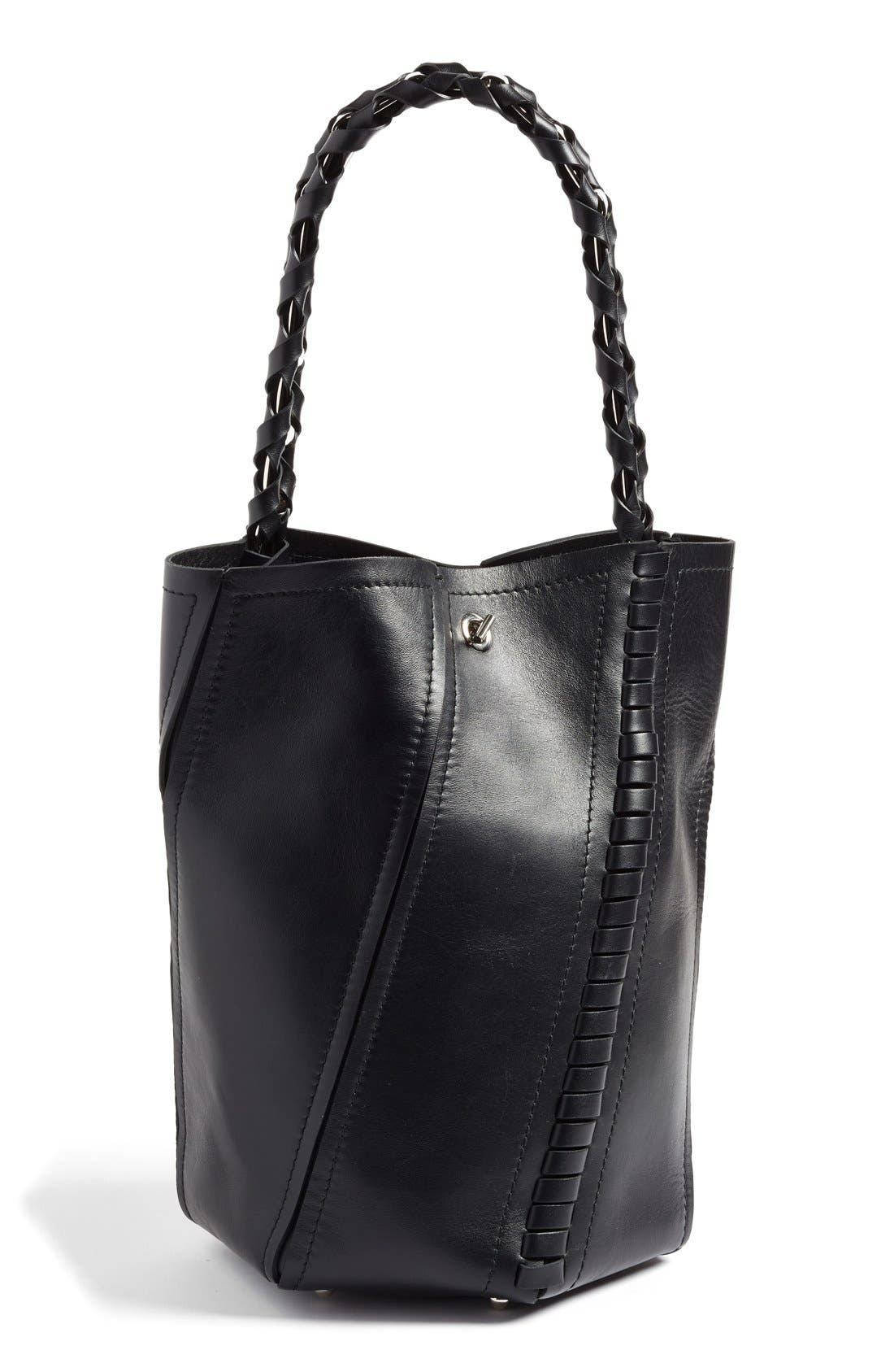'Medium Hex' Whipstitch Leather Bucket Bag,                         Main,                         color, 001