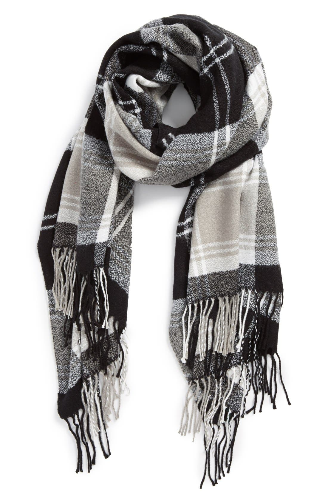 DAVID & YOUNG Plaid Scarf, Main, color, 001