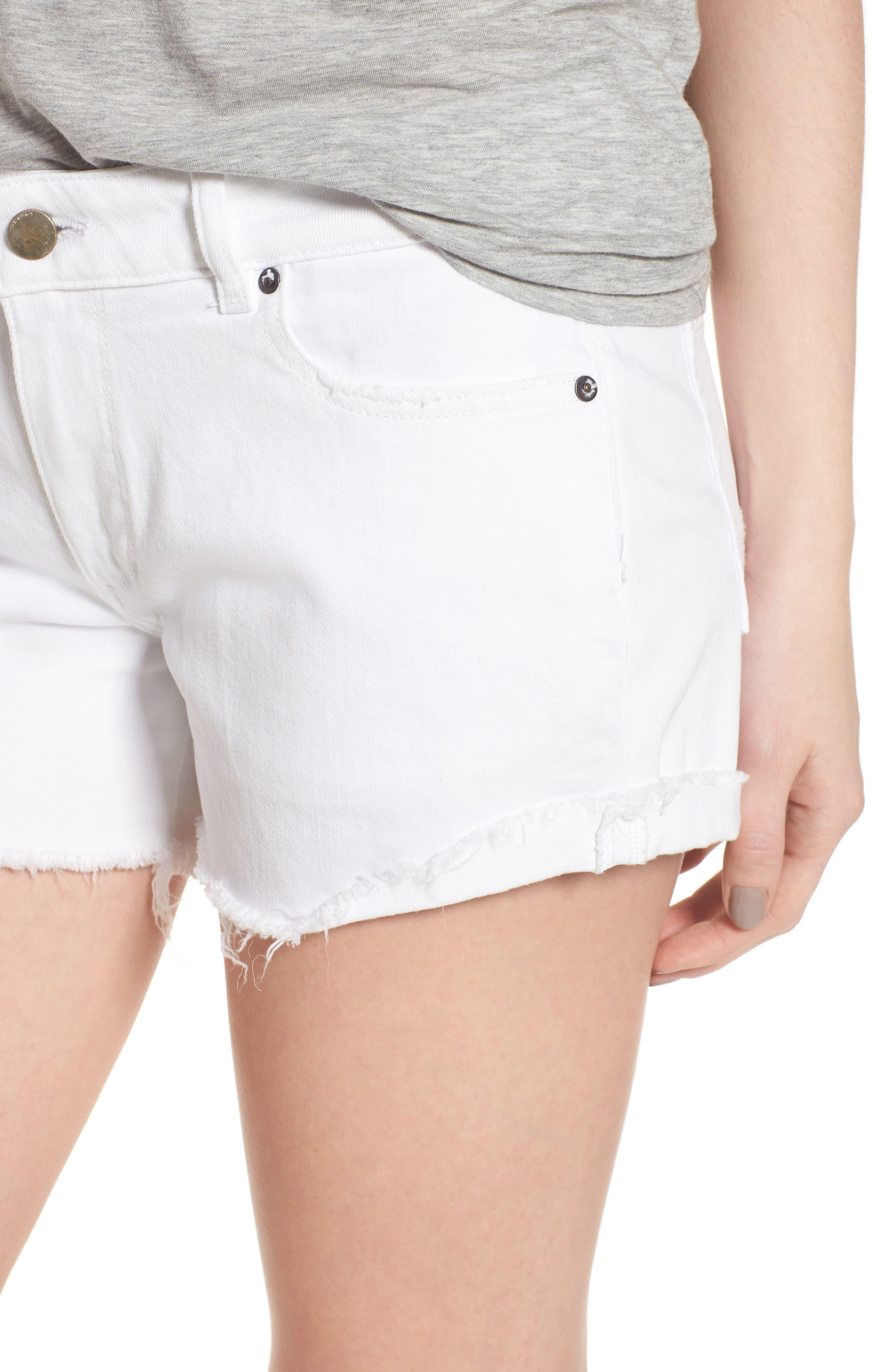 Karlie Cutoff Denim Boyfriend Shorts,                             Alternate thumbnail 4, color,                             100