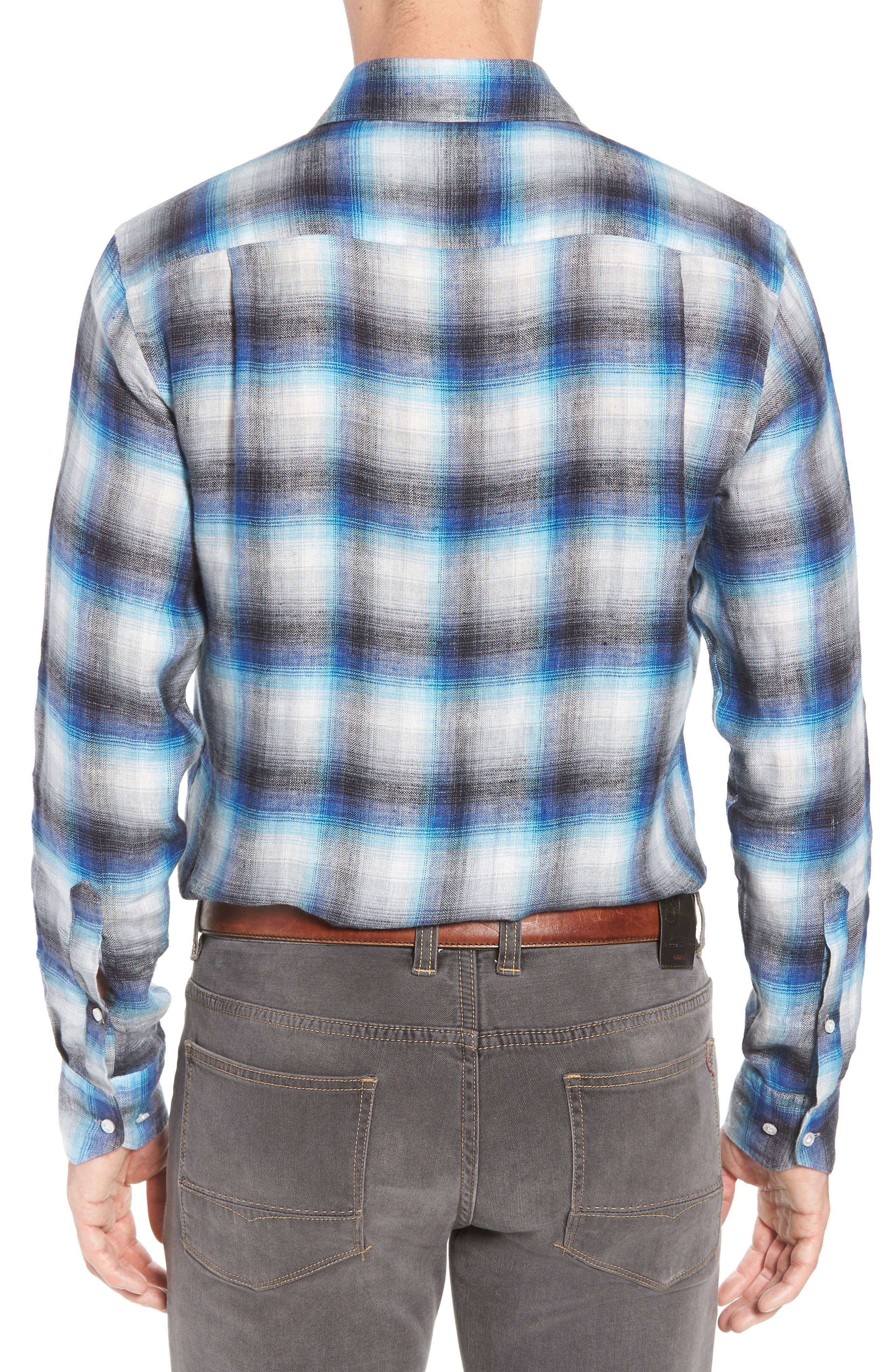Bisti Regular Fit Plaid Linen Sport Shirt,                             Alternate thumbnail 2, color,                             BARCHETTA