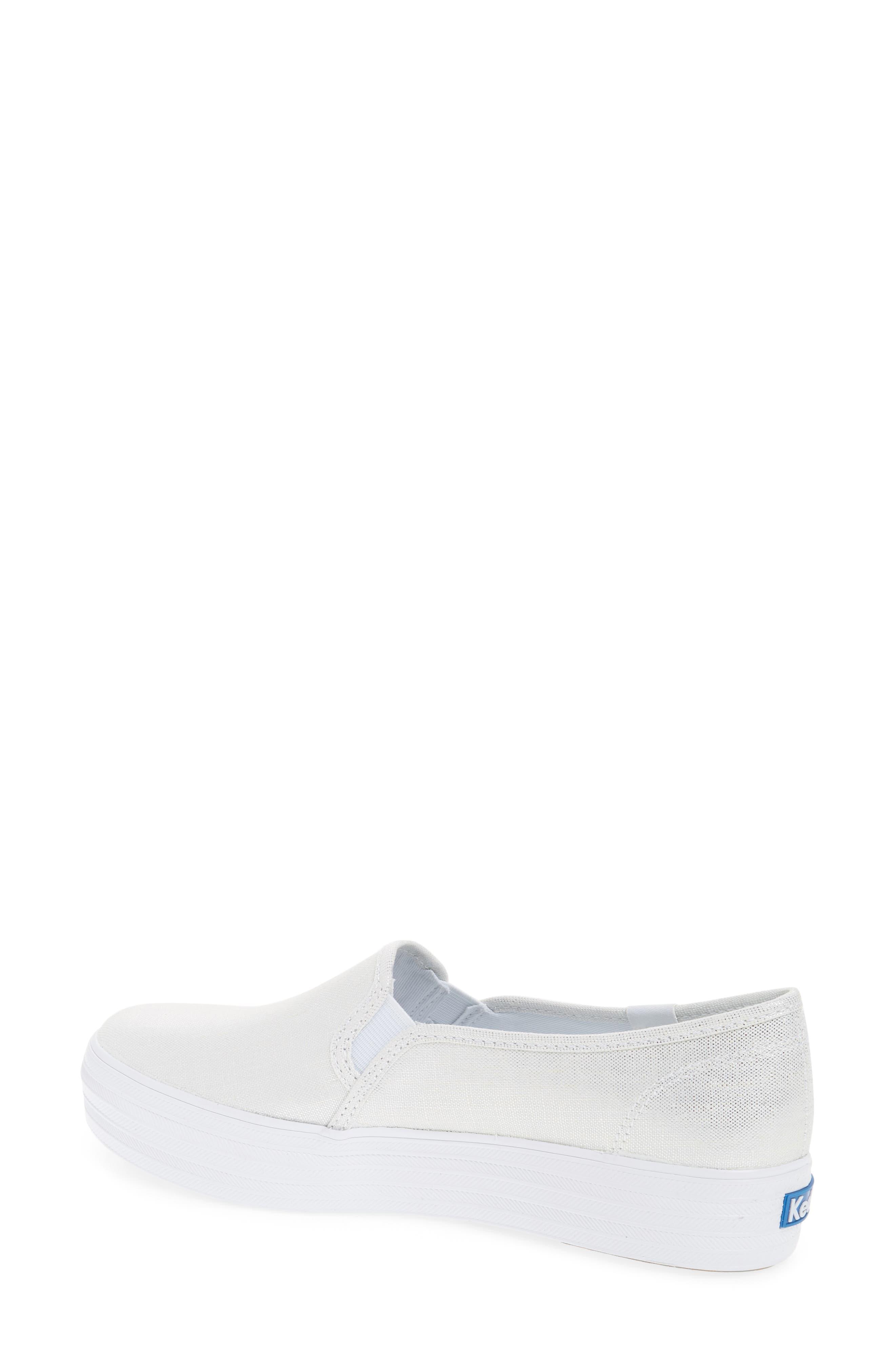 Triple Decker Metallic Linen Slip-On Sneaker,                             Alternate thumbnail 3, color,
