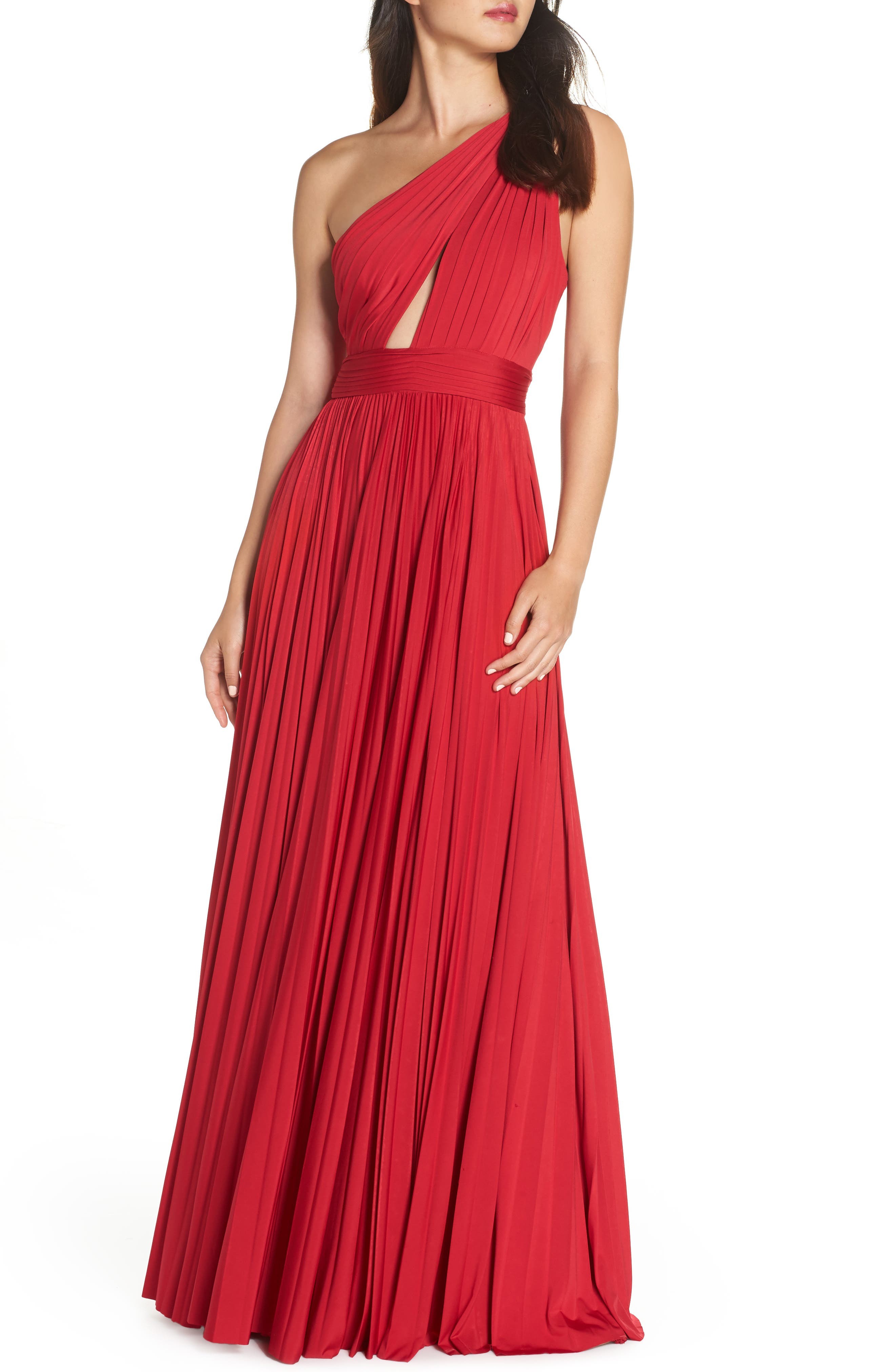 Cibele Pleated 1-Shoulder Jersey Gown in Ruby