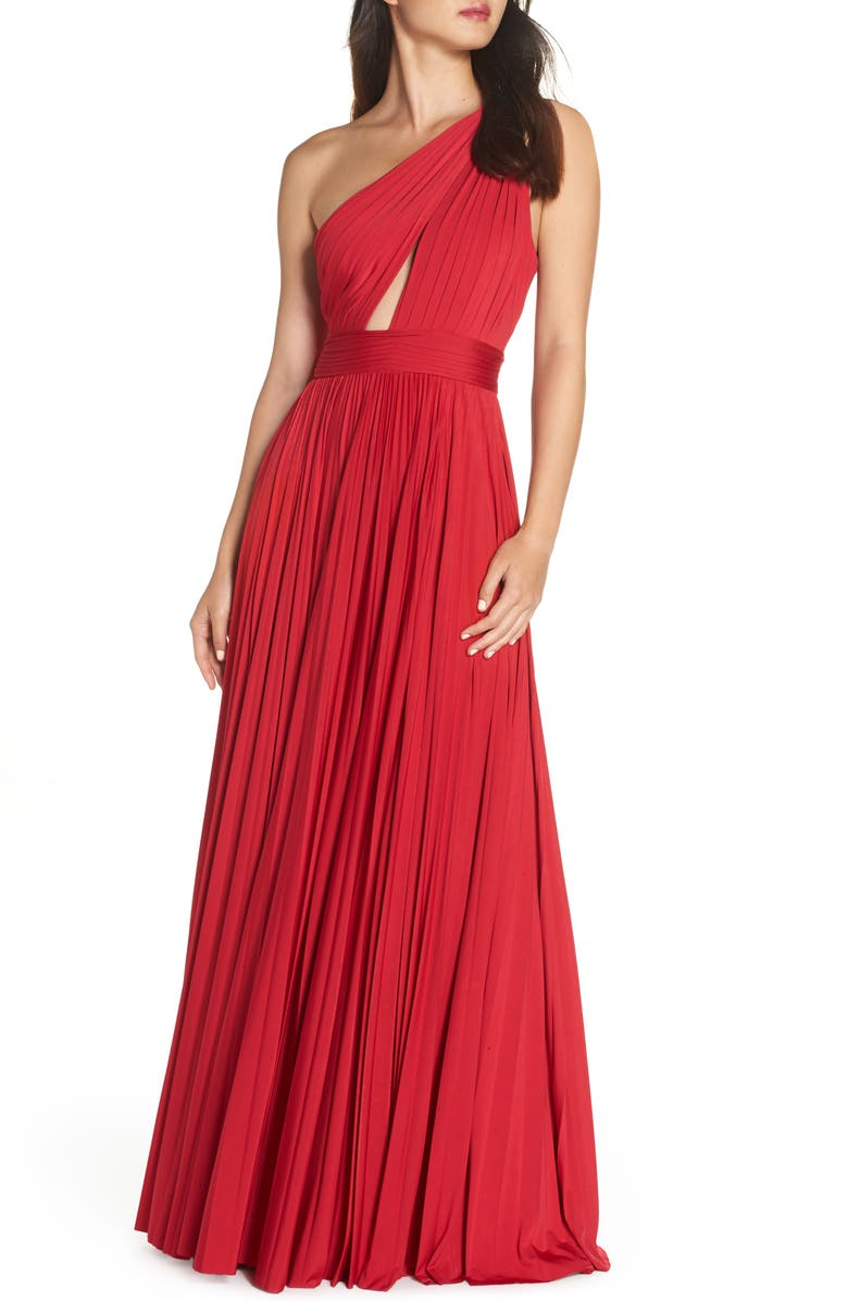 Jill Jill Stuart ONE-SHOULDER PLEAT GOWN