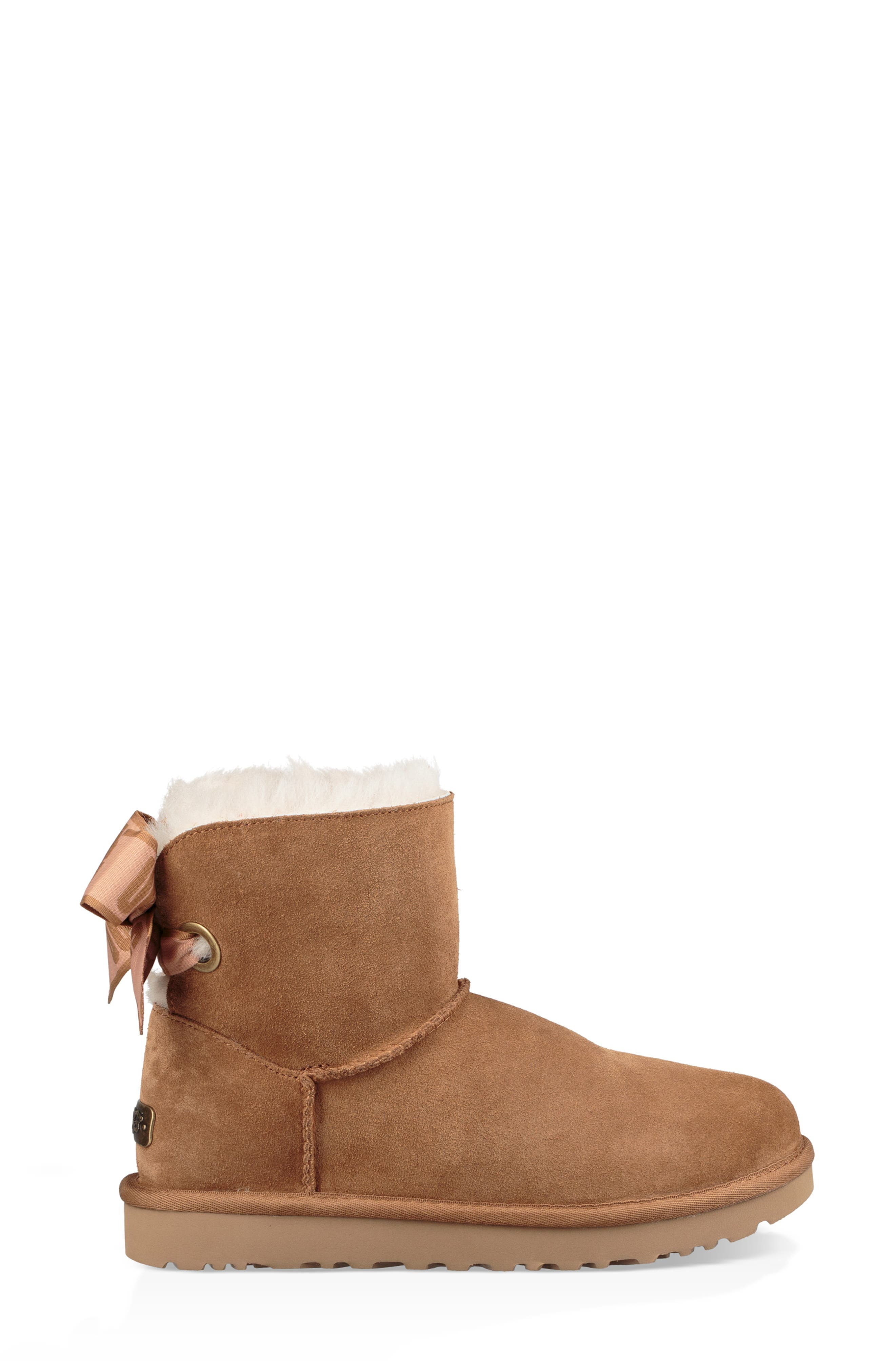 Customizable Bailey Bow Mini Genuine Shearling Bootie,                             Alternate thumbnail 8, color,                             CHESTNUT SUEDE