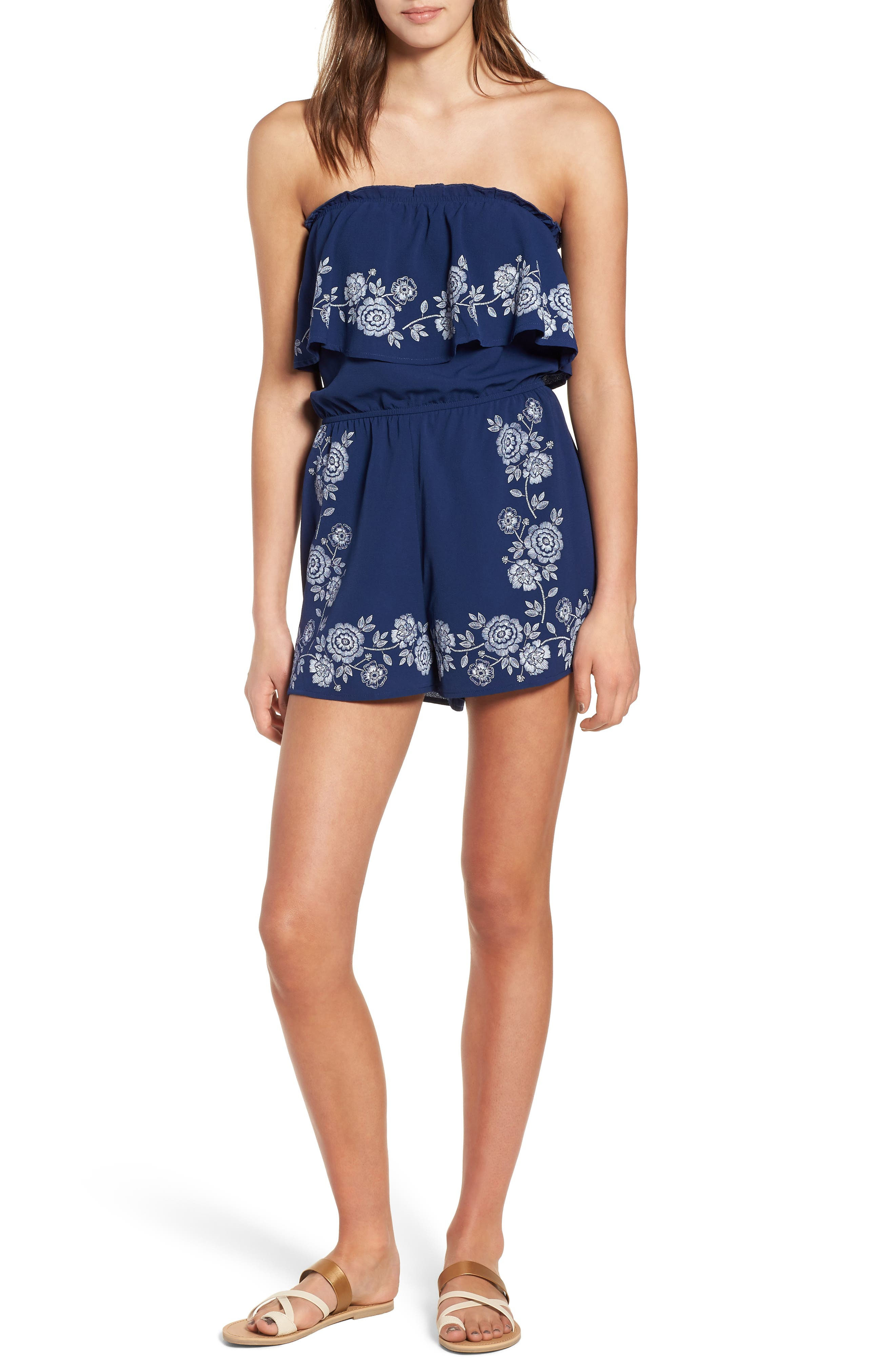 Embroidered Strapless Romper,                             Main thumbnail 1, color,
