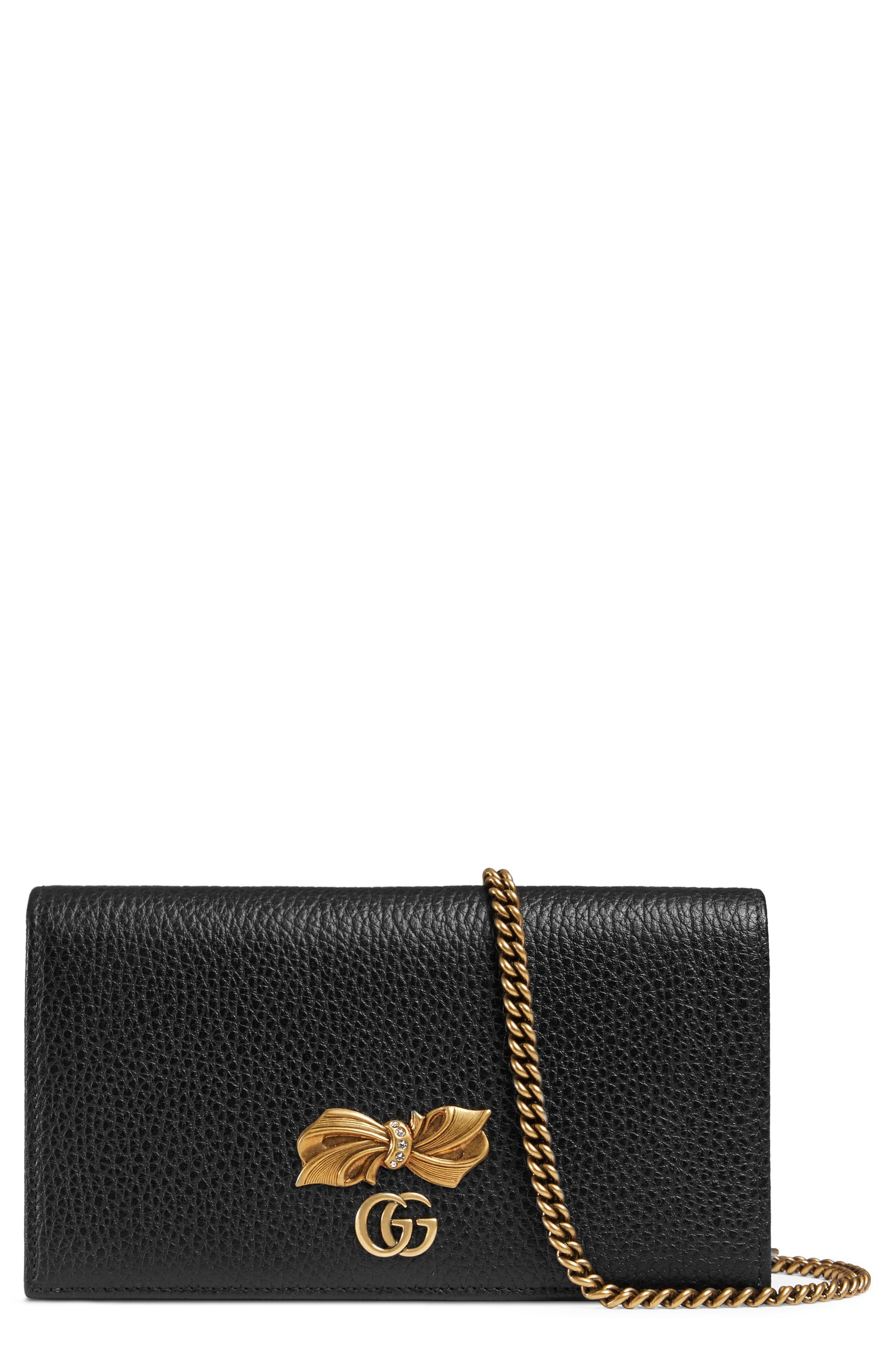 Fiocchino Leather Wallet on a Chain,                             Main thumbnail 1, color,                             001