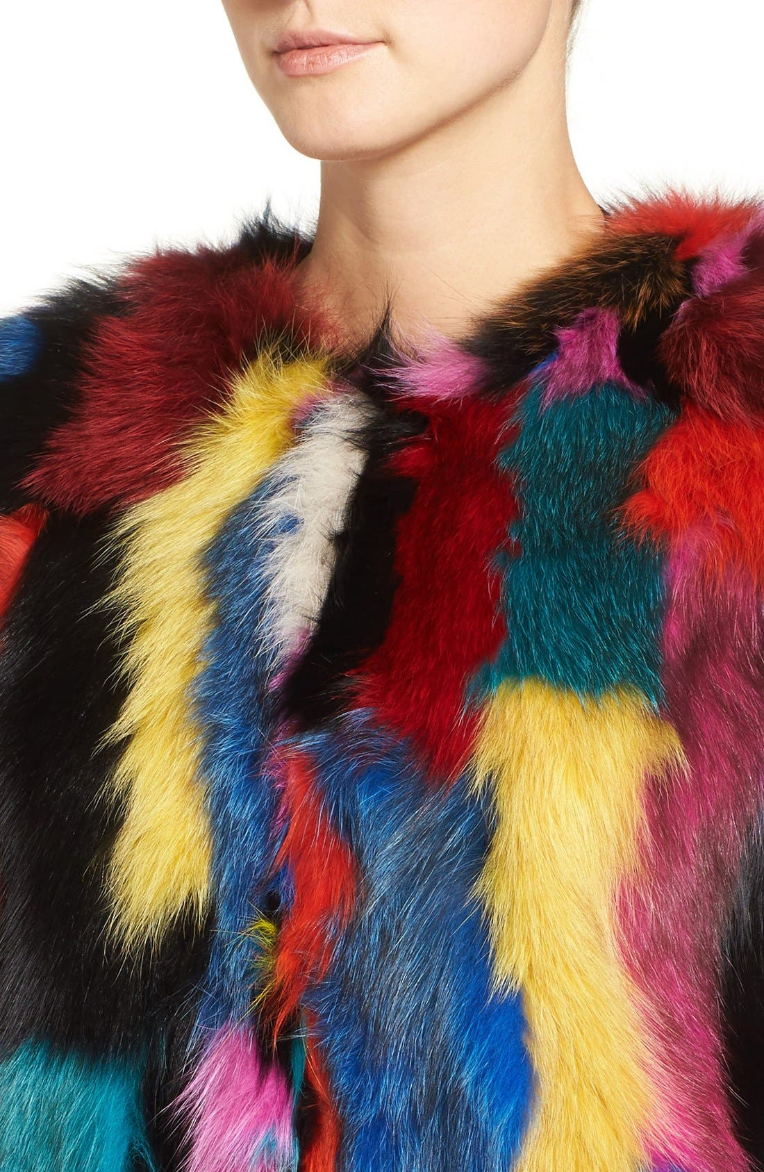 Marmalade Patchwork Genuine Fox Fur Coat,                             Alternate thumbnail 3, color,                             400
