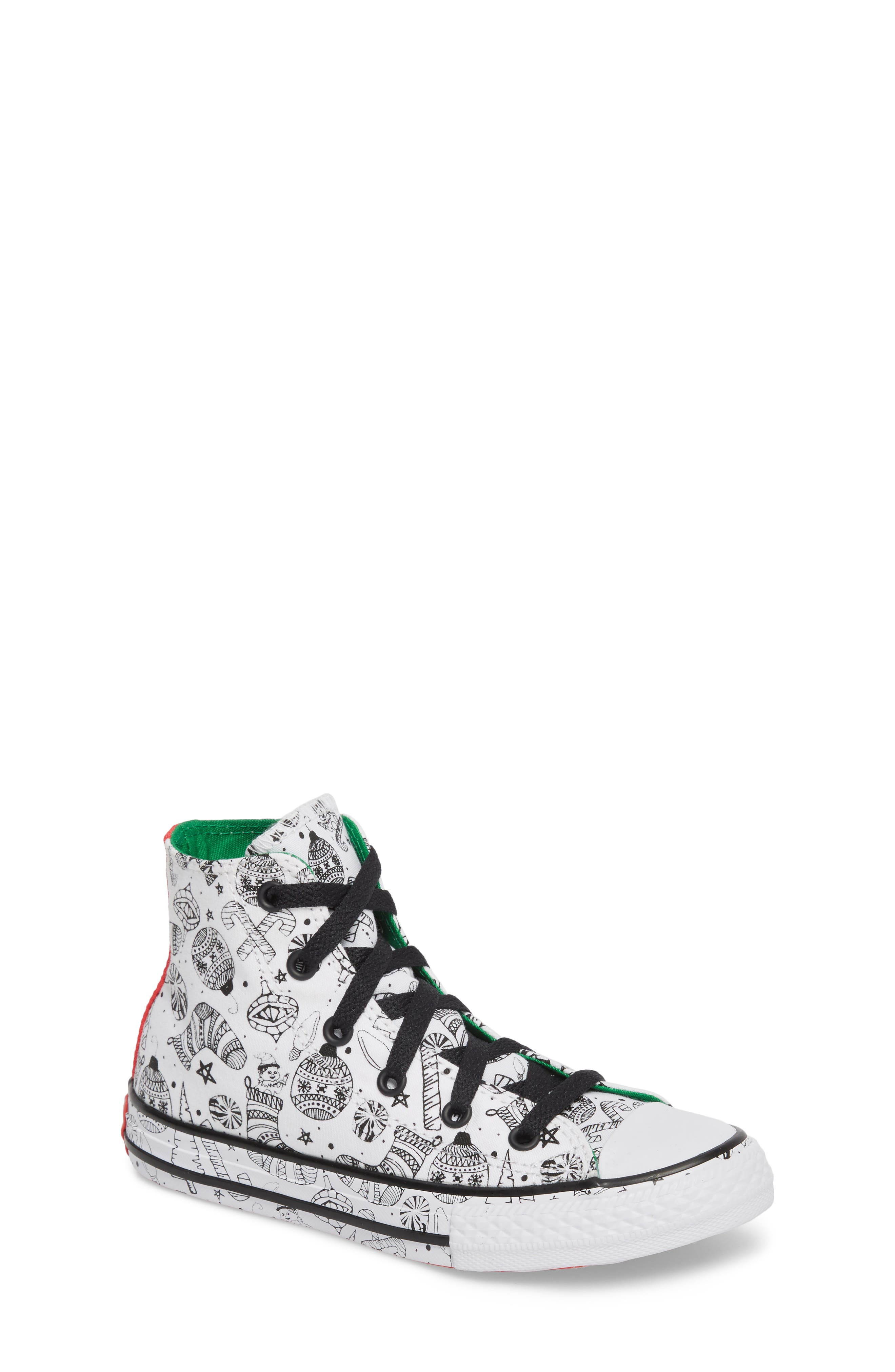Chuck Taylor<sup>®</sup> All Star<sup>®</sup> Christmas Coloring Book High Top Sneaker,                         Main,                         color,
