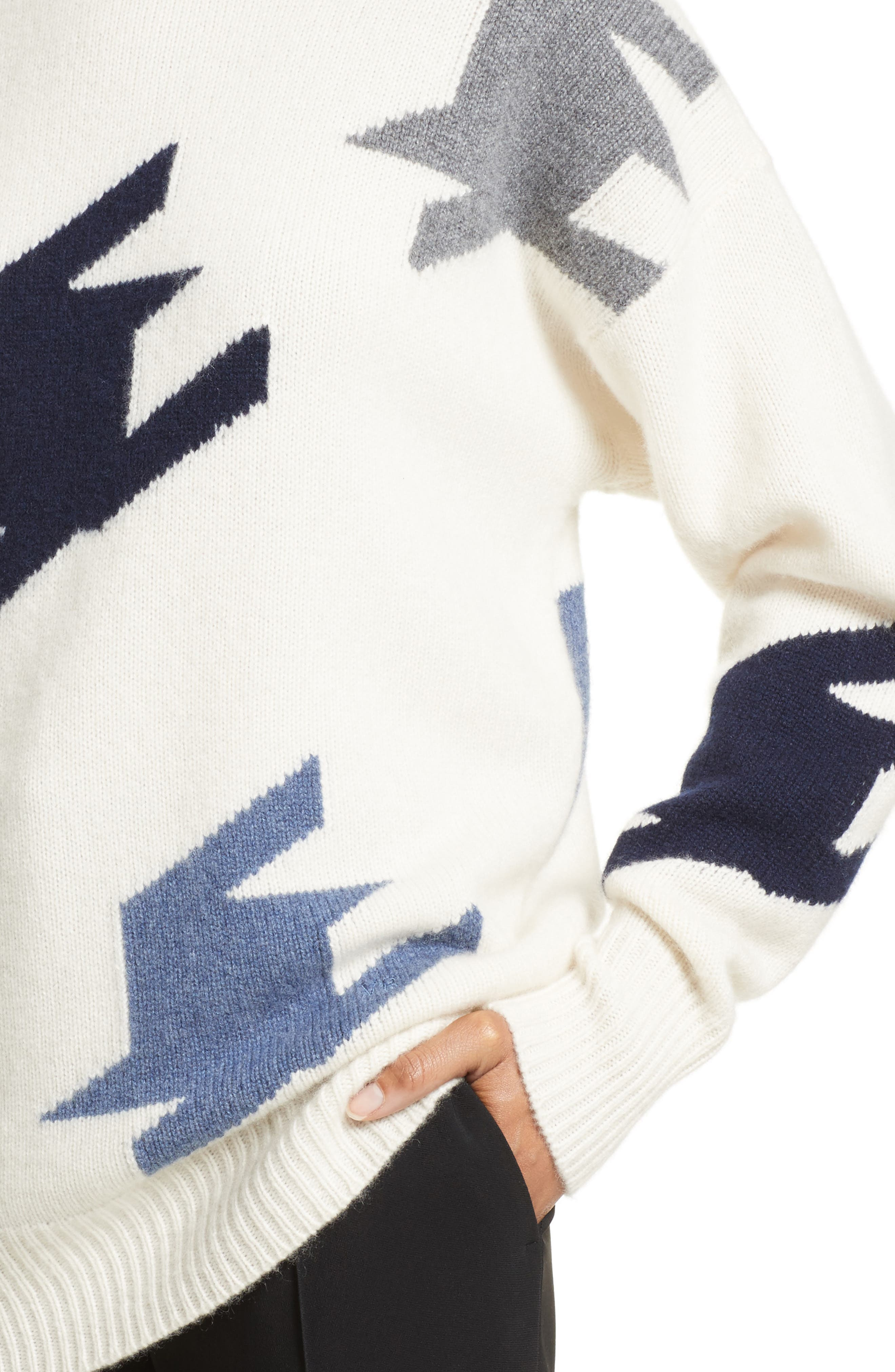 VICTORIA BECKHAM,                             Houndstooth Cashmere Sweater,                             Alternate thumbnail 4, color,                             905