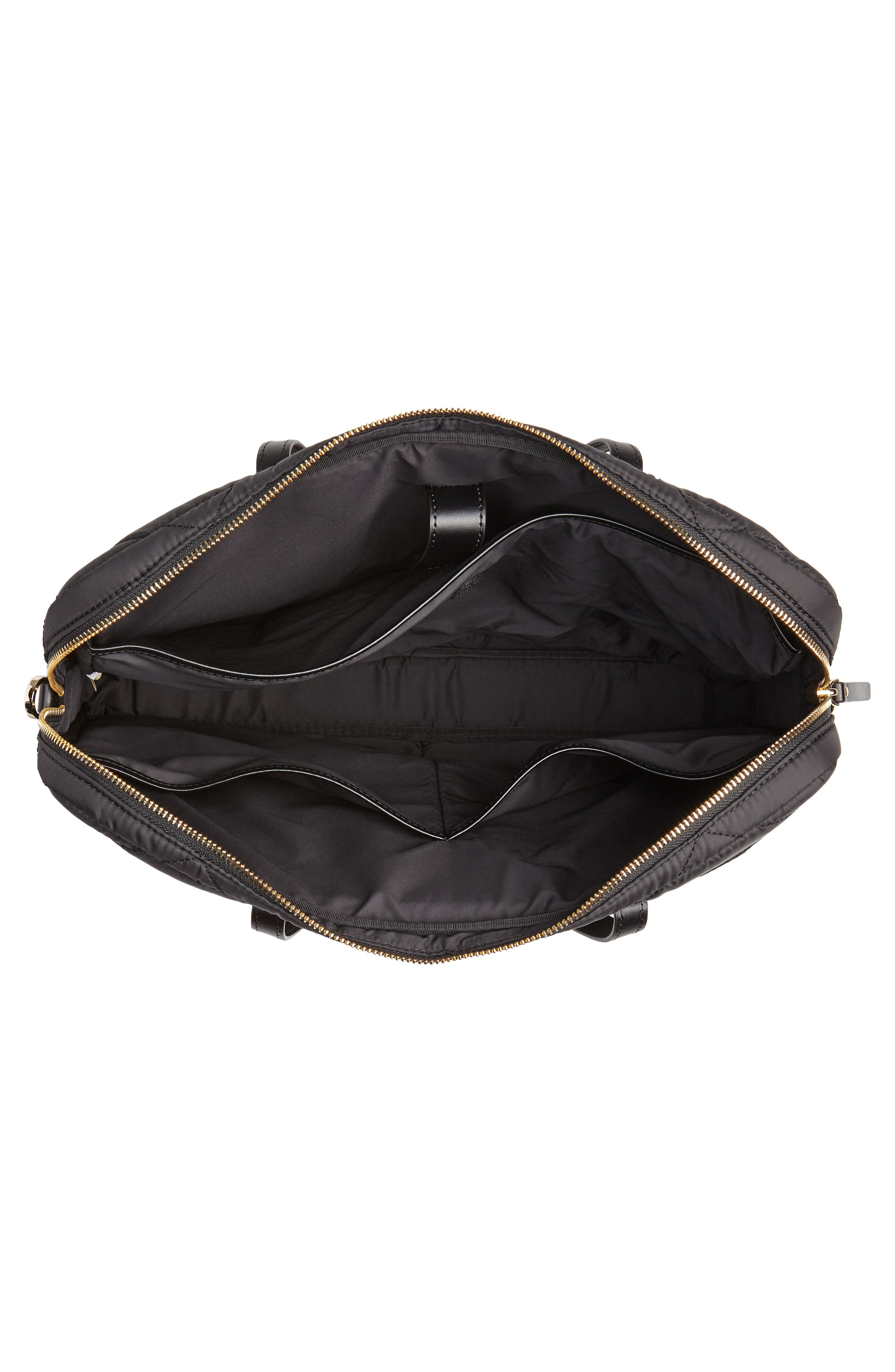 quilted nylon universal laptop commuter bag,                             Alternate thumbnail 4, color,                             BLACK