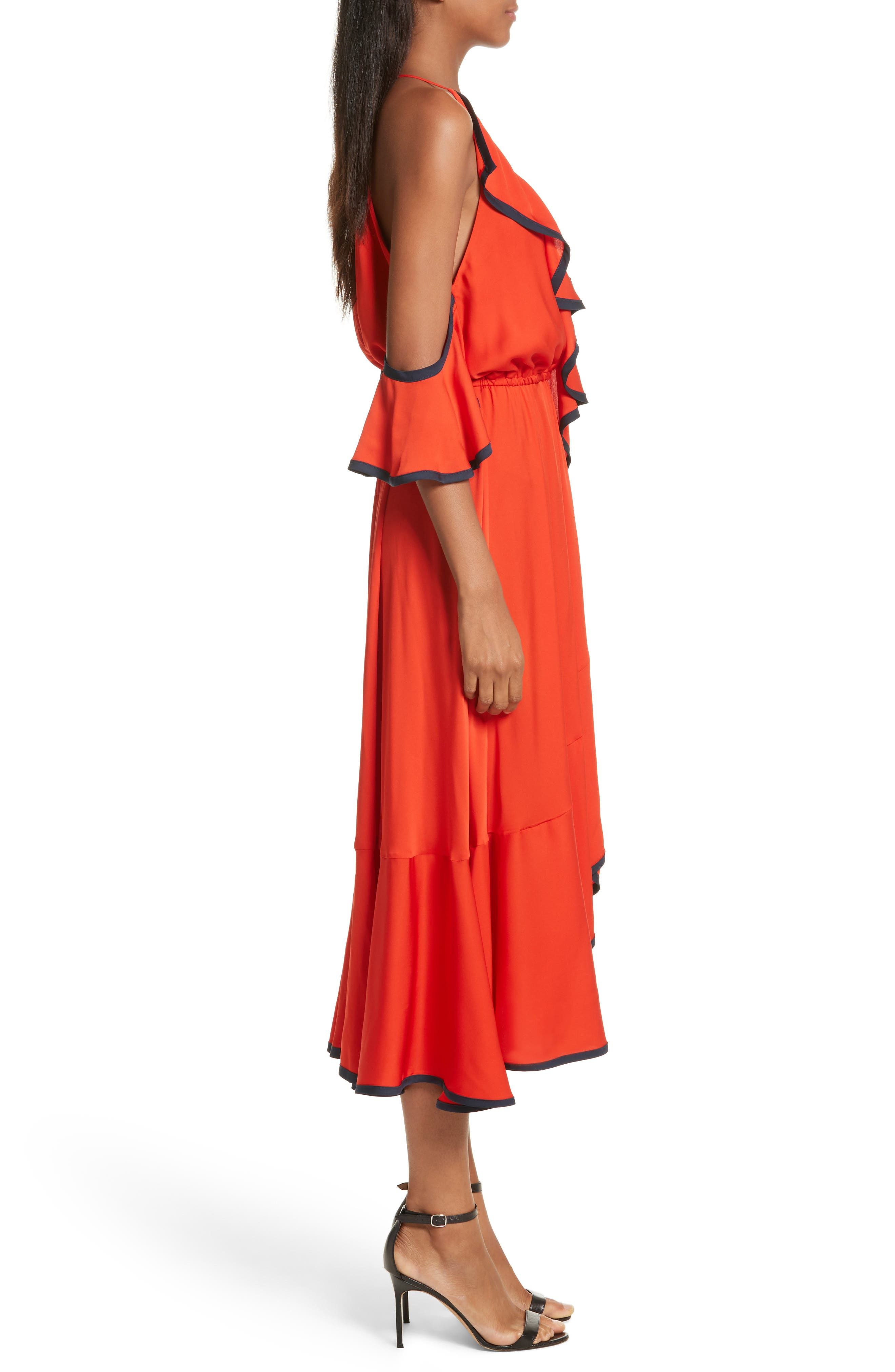 Bryce Ruffle Stretch Silk Fit & Flare Dress,                             Alternate thumbnail 3, color,                             635