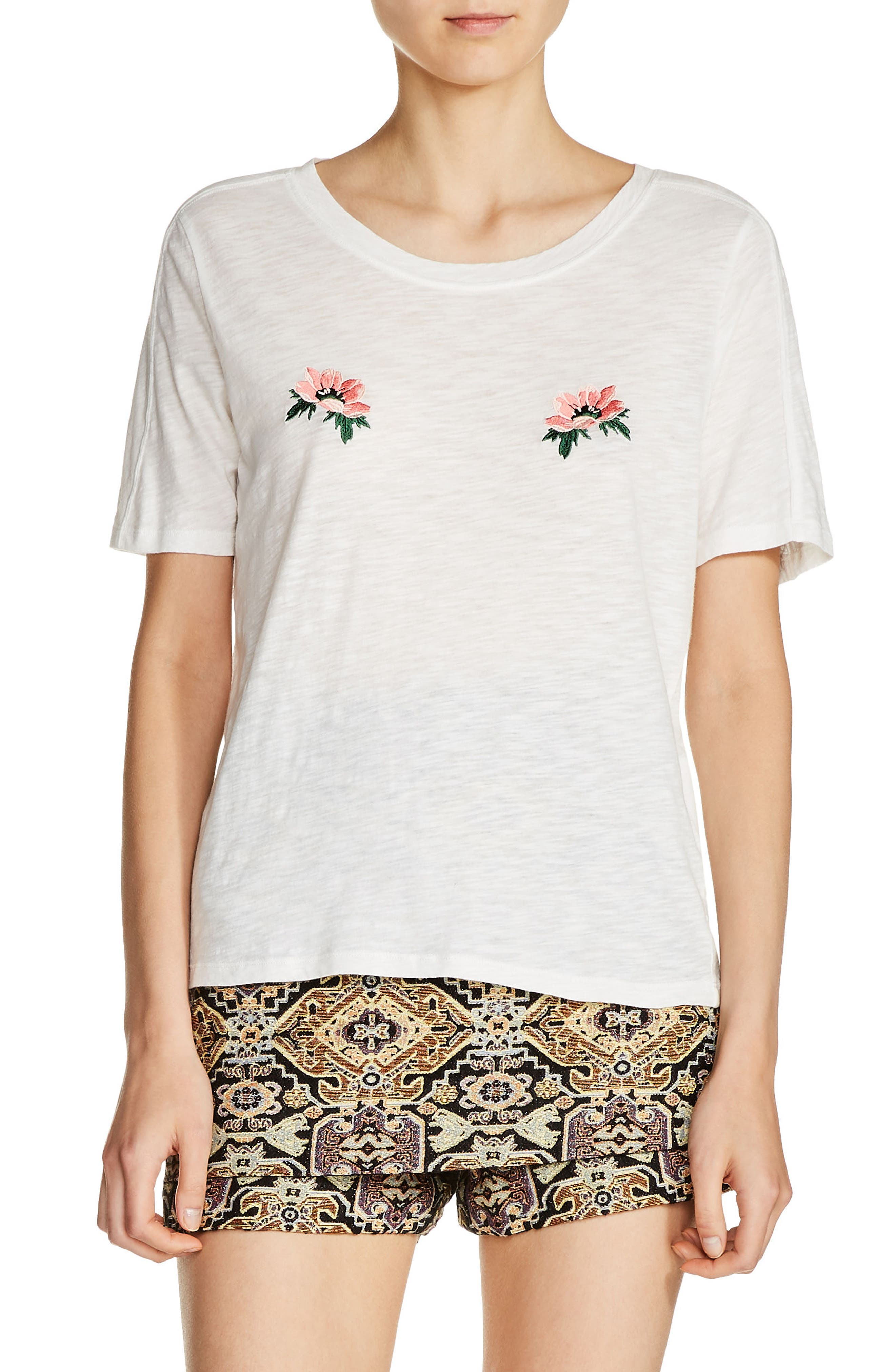 Floral Embroidered Tee,                             Main thumbnail 1, color,                             900