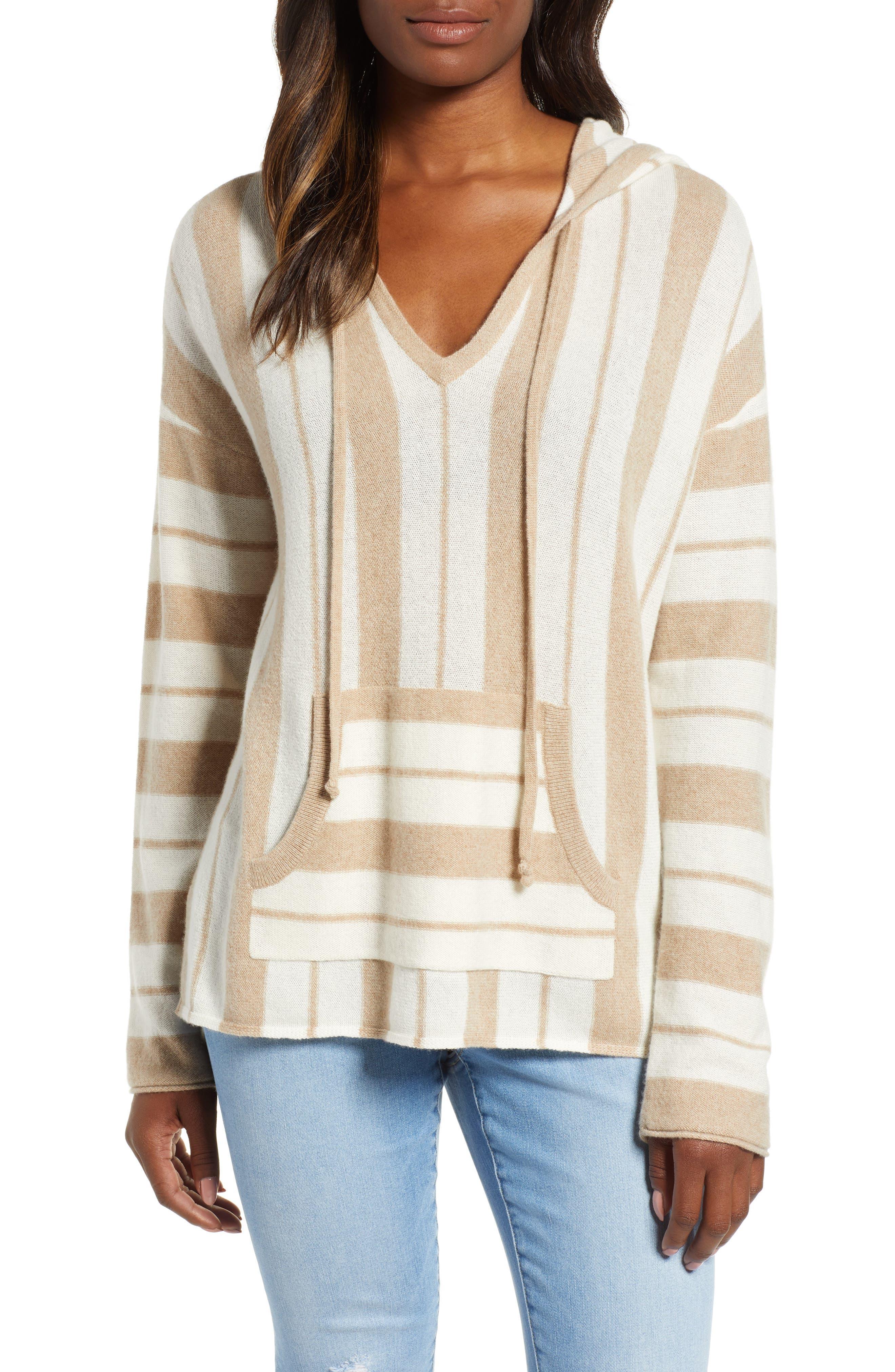 TOMMY BAHAMA Serena Stripe Baja Pullover Top in Golden Honey Heather