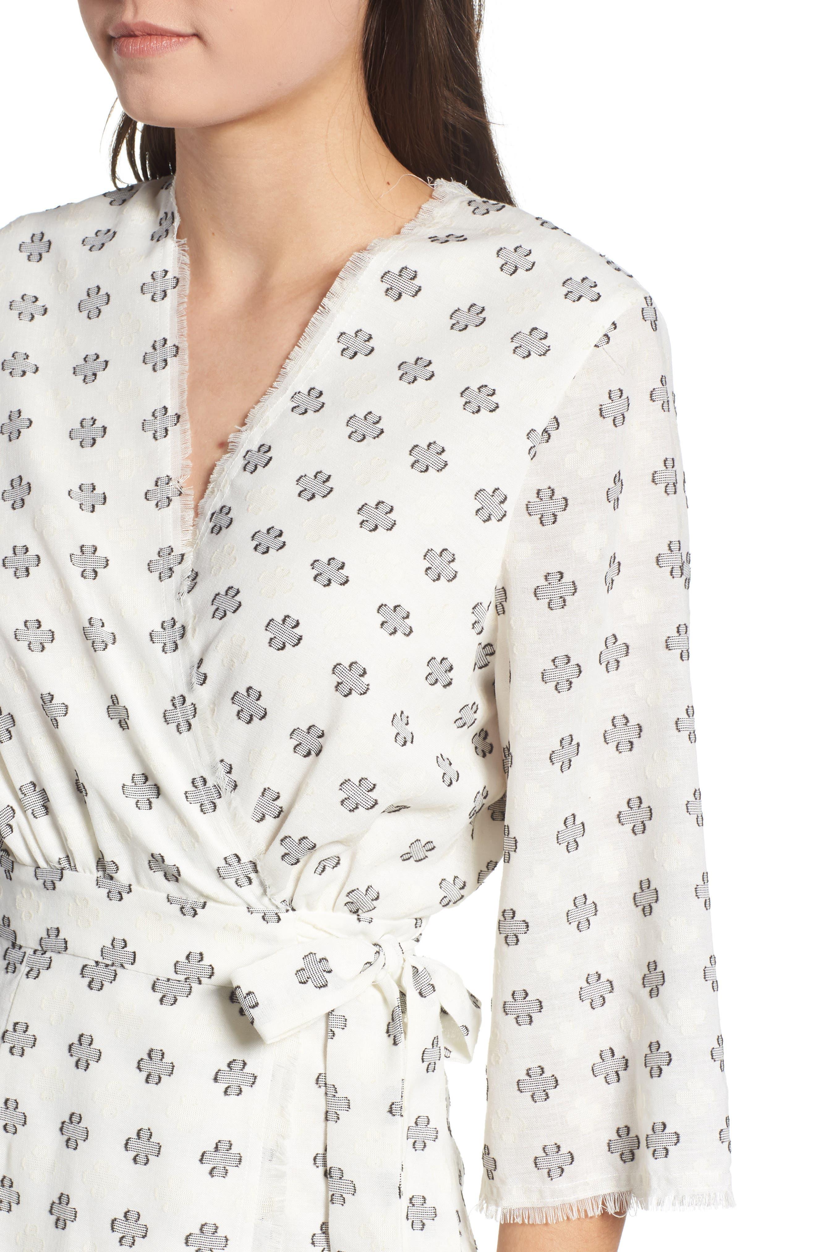 Ruth Wrap Minidress,                             Alternate thumbnail 4, color,                             BLACK AND WHITE CLOVER