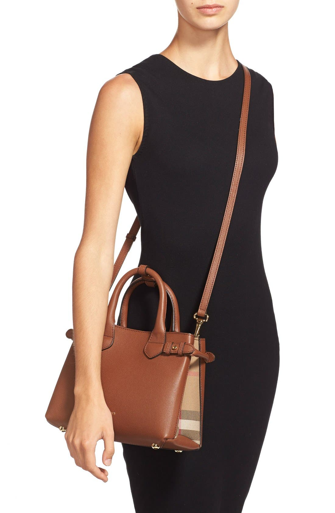 'Small Banner' Leather Tote,                             Alternate thumbnail 7, color,