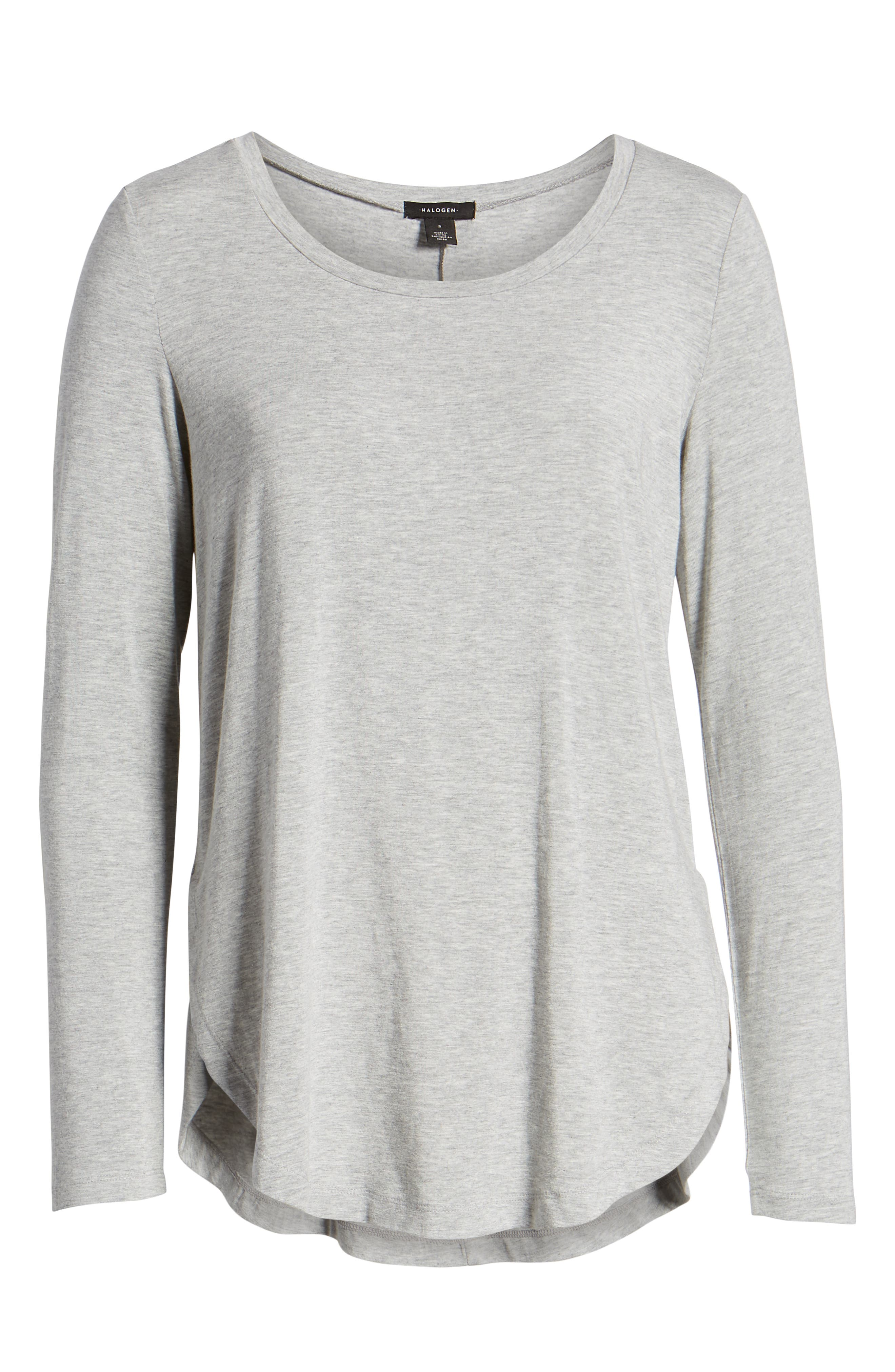 Long Sleeve Knit Tunic,                             Alternate thumbnail 6, color,                             GREY HEATHER