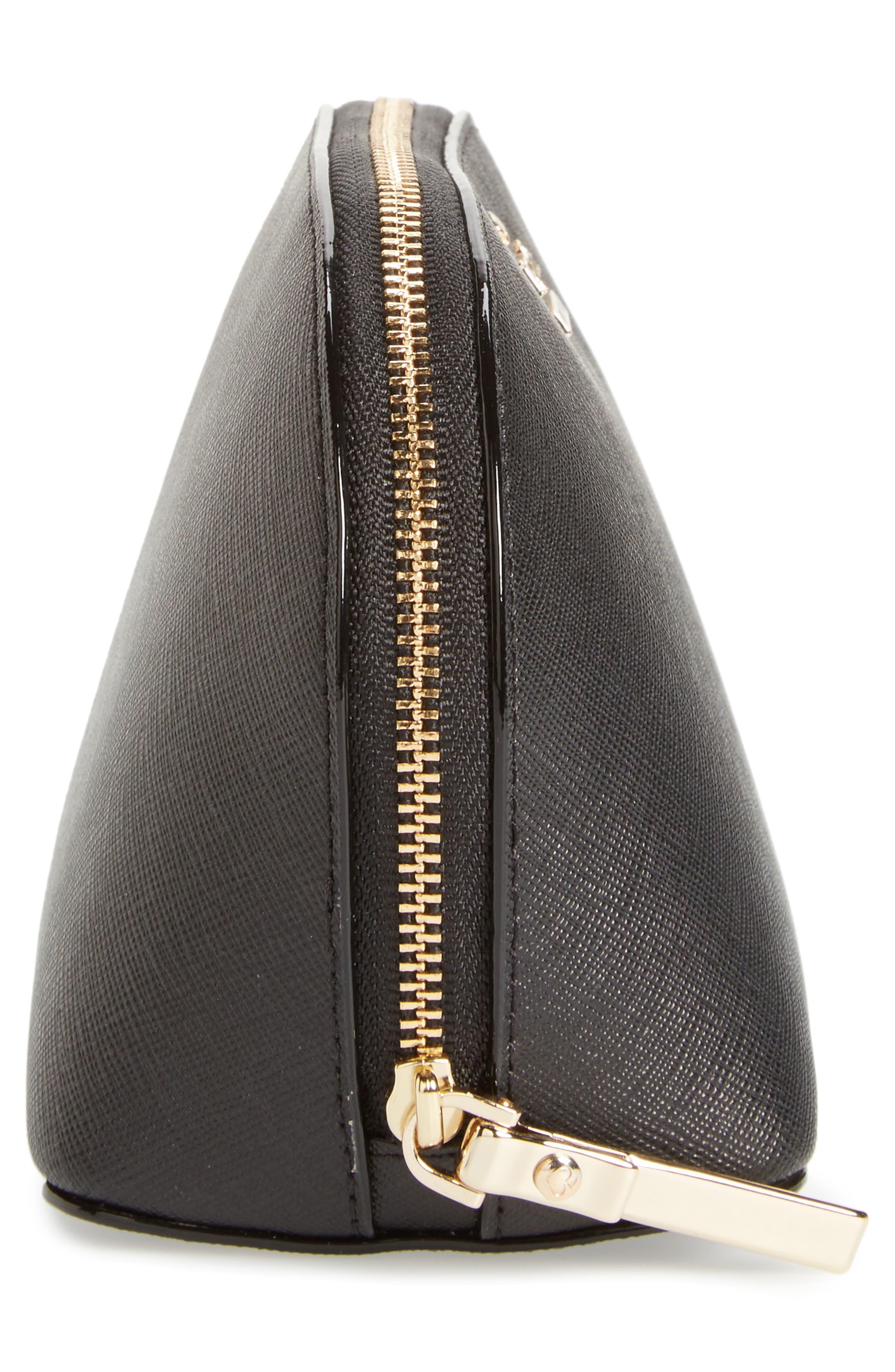 cameron street - small abalene leather cosmetics bag,                             Alternate thumbnail 4, color,                             BLACK