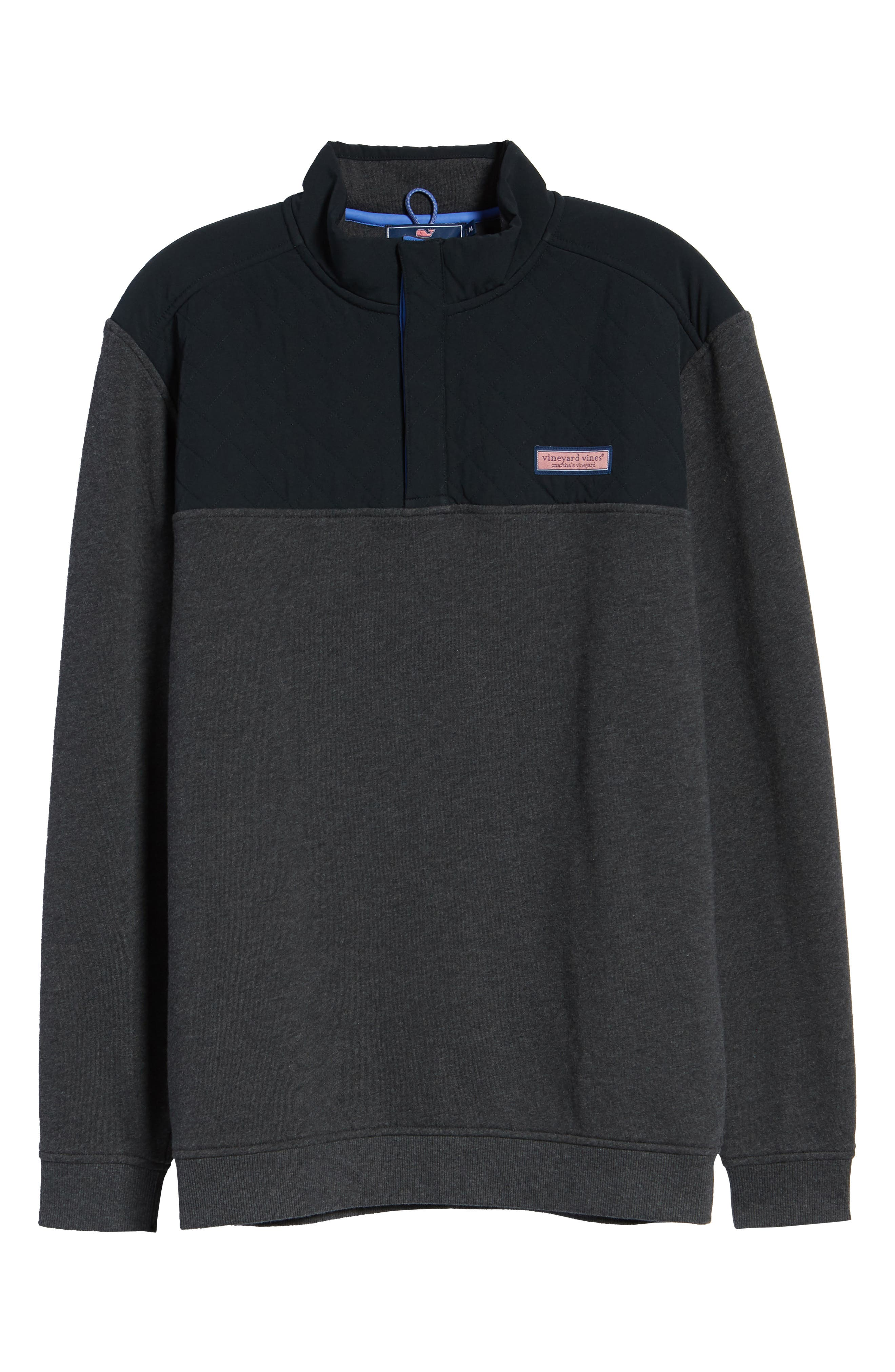 Shep Colorblock Quilted Pullover,                             Alternate thumbnail 6, color,                             JET BLACK