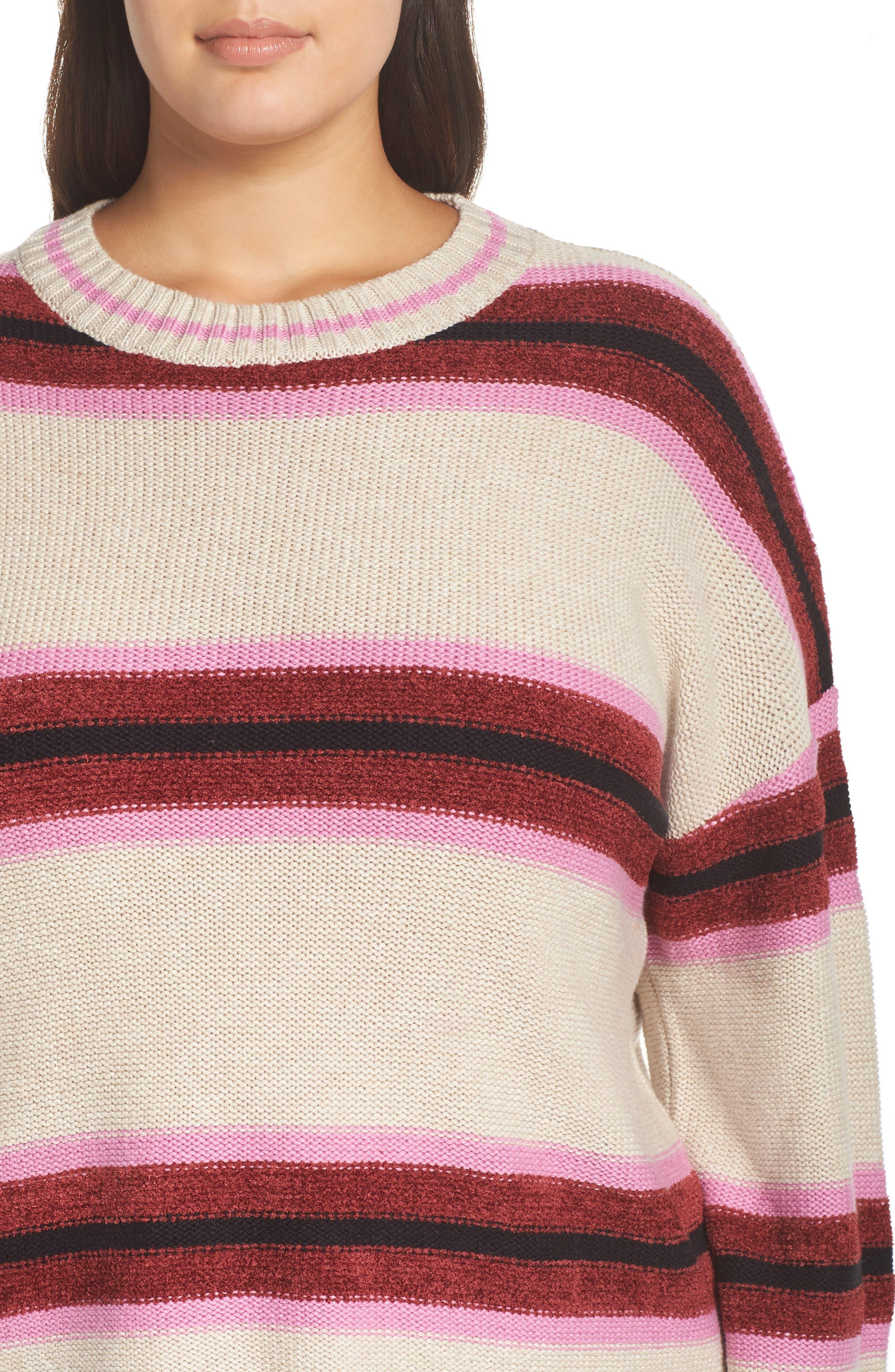 Everyday Stripe Sweater,                             Alternate thumbnail 4, color,                             BEIGE HEATHER ROBYN STRIPE