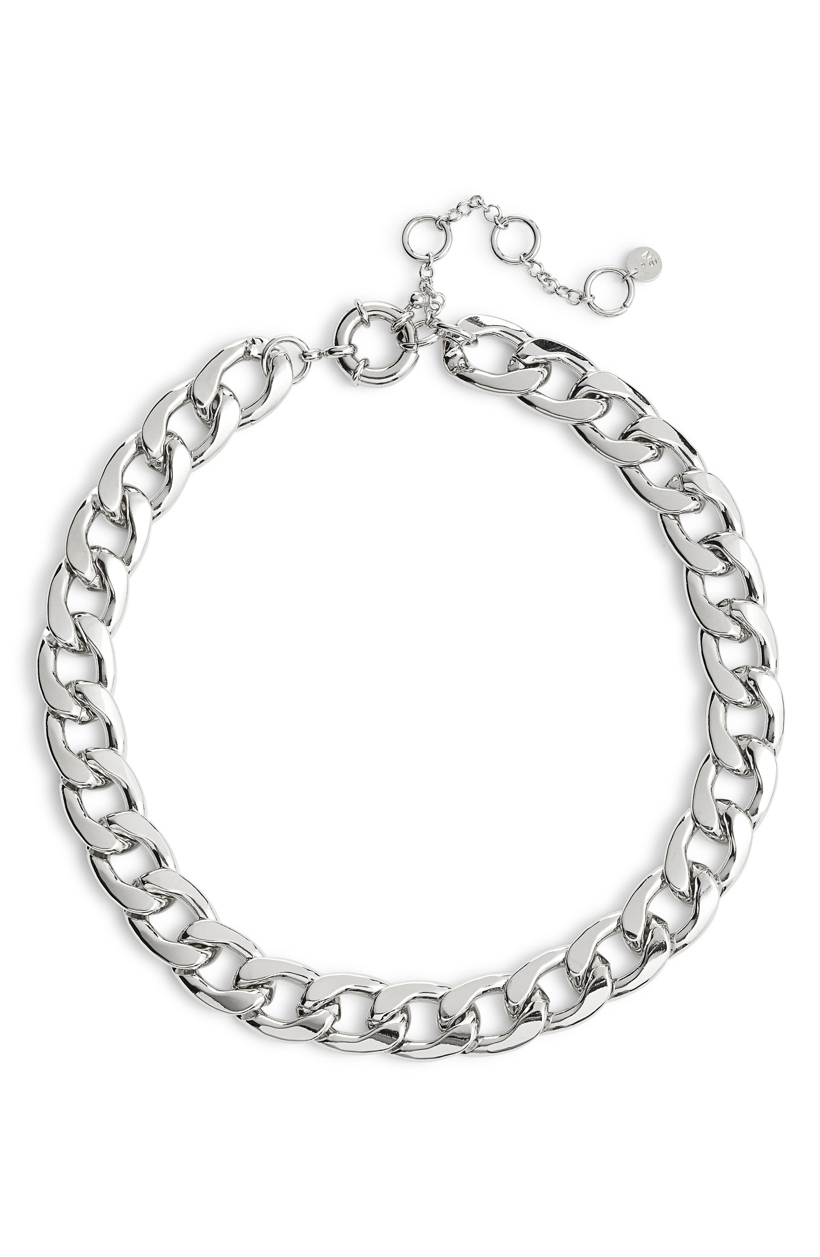Large Chain Collar Necklace,                         Main,                         color, RHODIUM