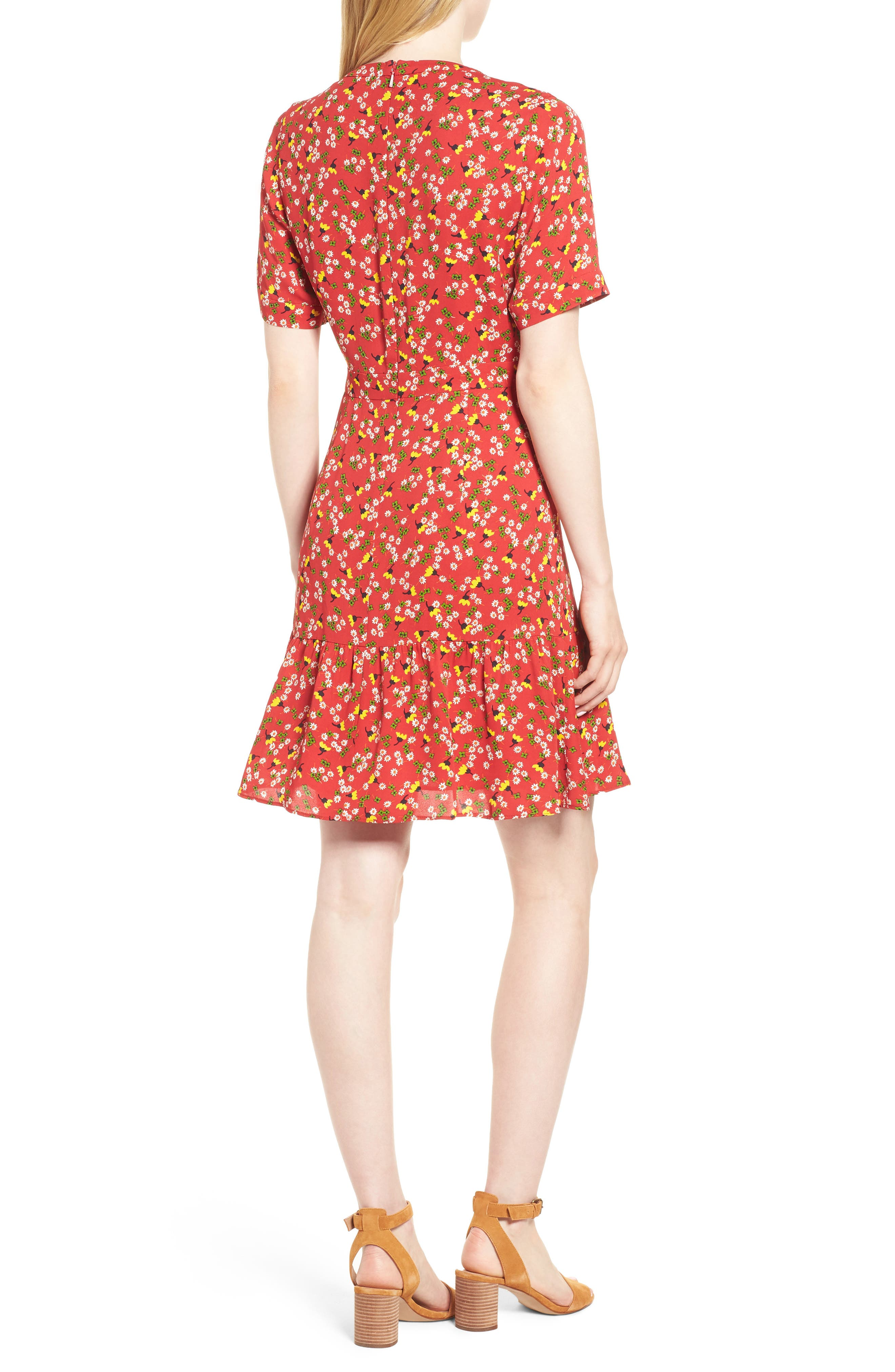 Peony Print Pleat Dress,                             Alternate thumbnail 2, color,                             RED/ MULTI