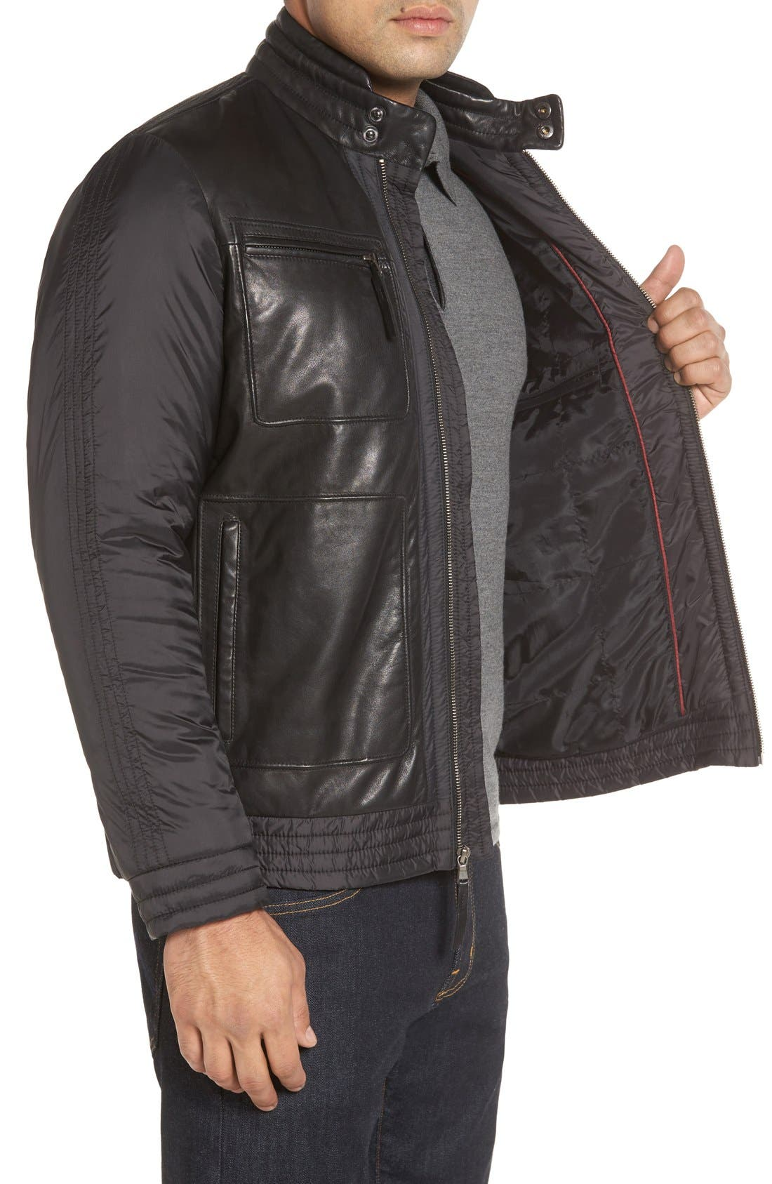 Leather Trimmed Nylon Jacket,                             Alternate thumbnail 3, color,