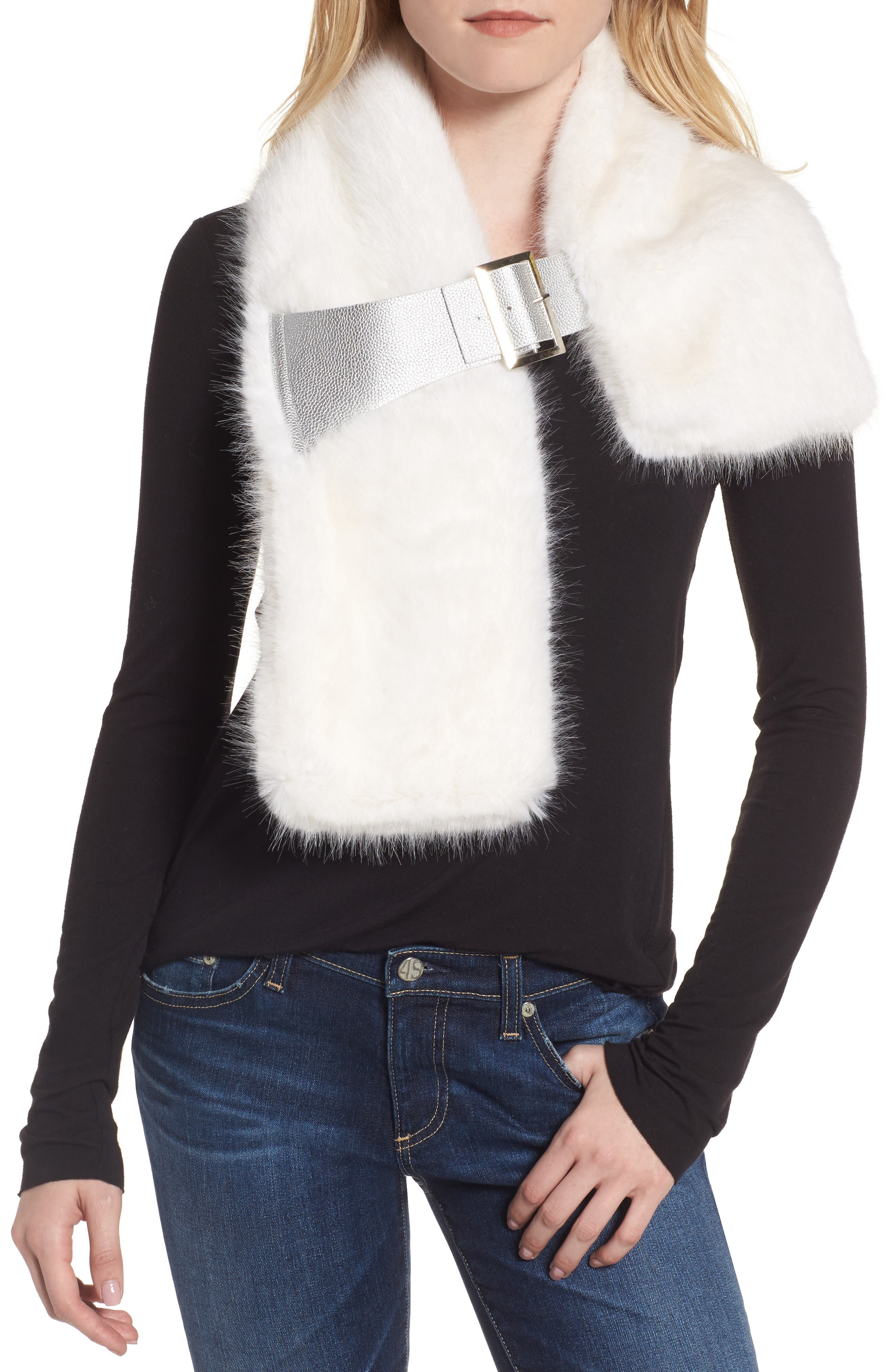 Buckled Faux Fur Scarf,                         Main,                         color, WHITE MINK