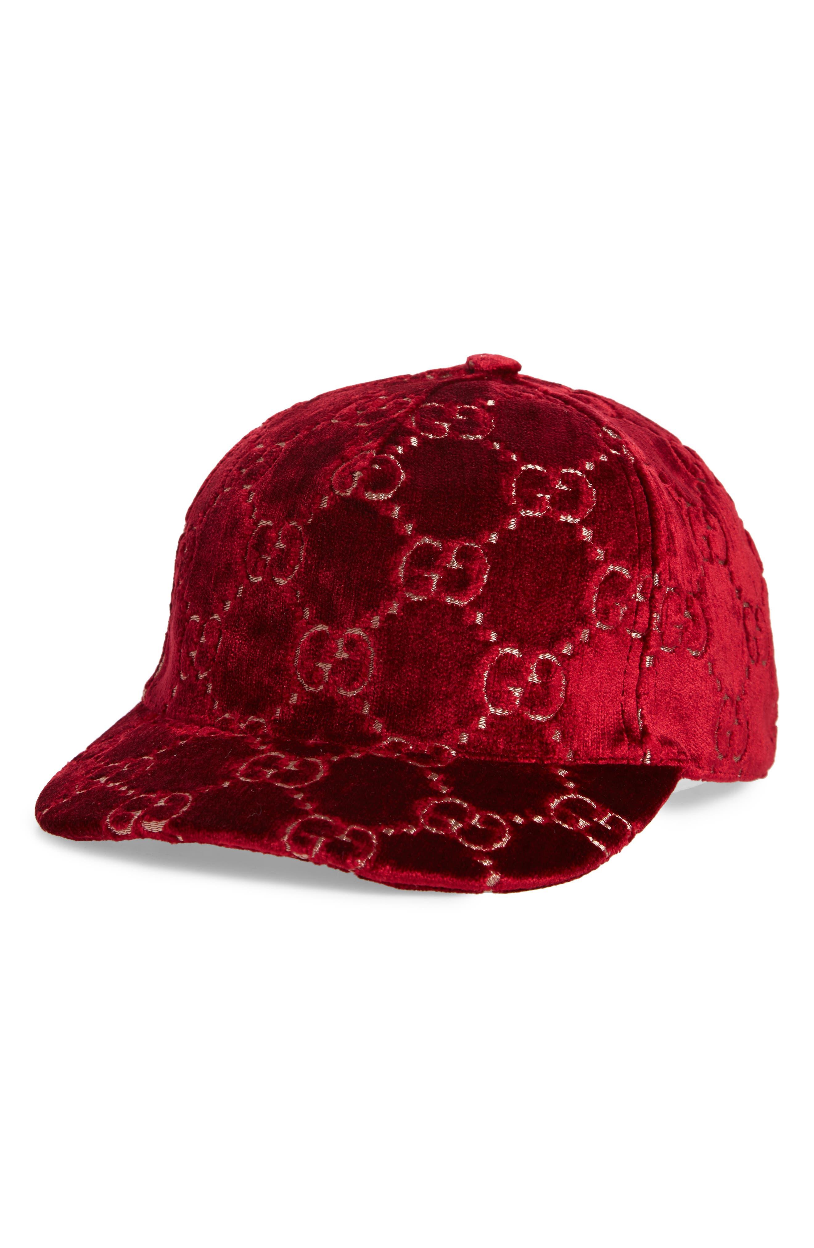 Logo Embroidered Velvet Baseball Cap - Black in Red/ Black