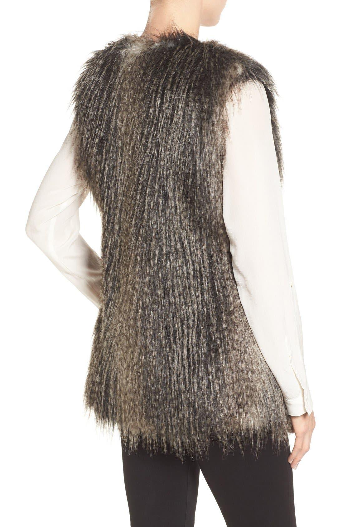 Collarless Faux Fur Vest,                             Alternate thumbnail 5, color,