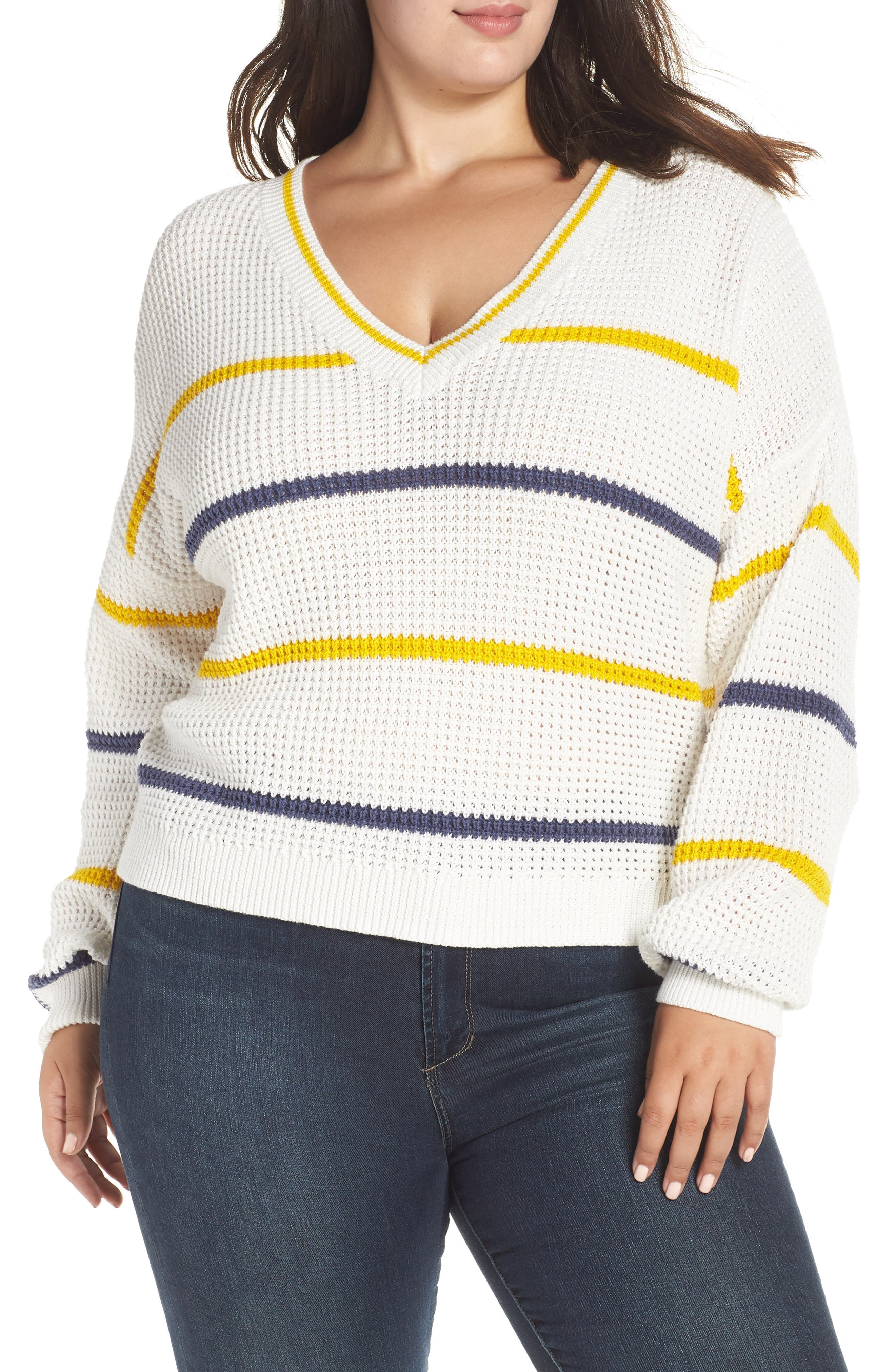 BP.,                             Stripe Cotton Thermal Sweater,                             Alternate thumbnail 2, color,                             IVORY SEA STRIPE