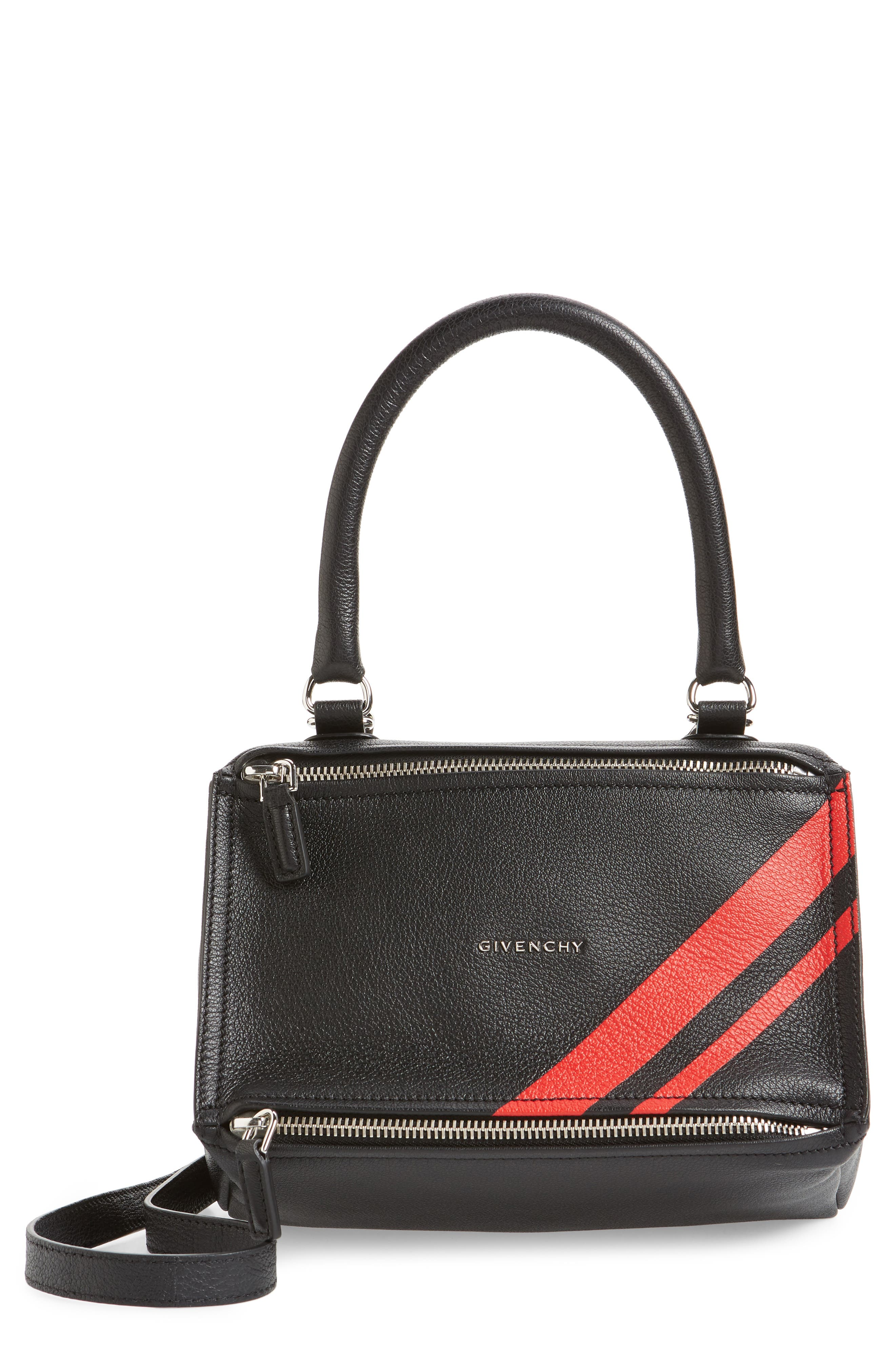 Small Pandora Stripe Leather Satchel, Main, color, BLACK / RED