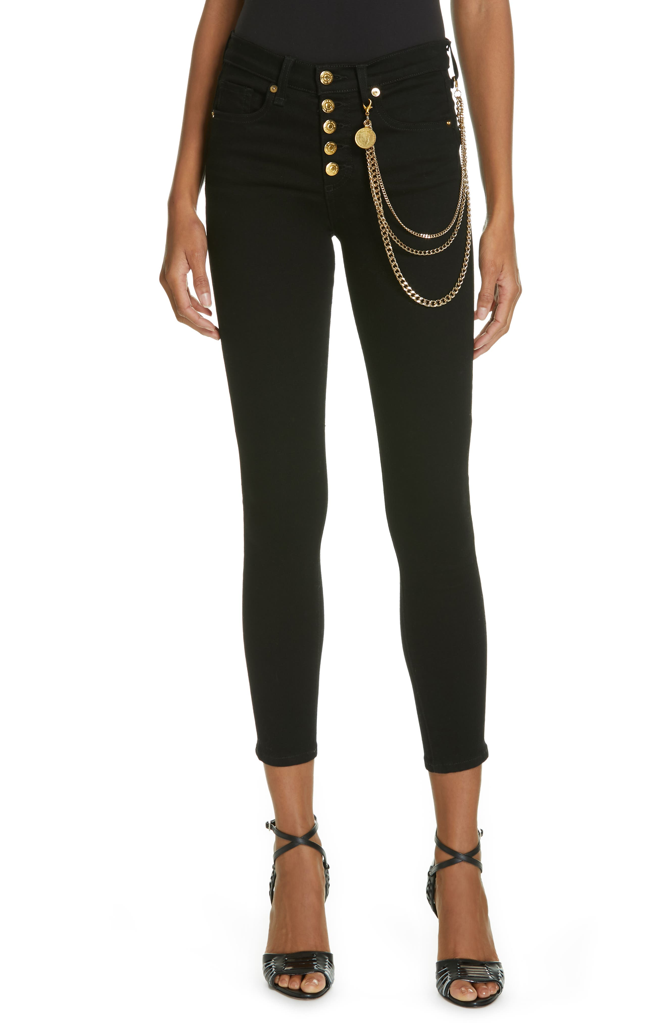 Debbie 10 Chain Belt High Waist Skinny Jeans,                             Main thumbnail 1, color,                             RAVEN