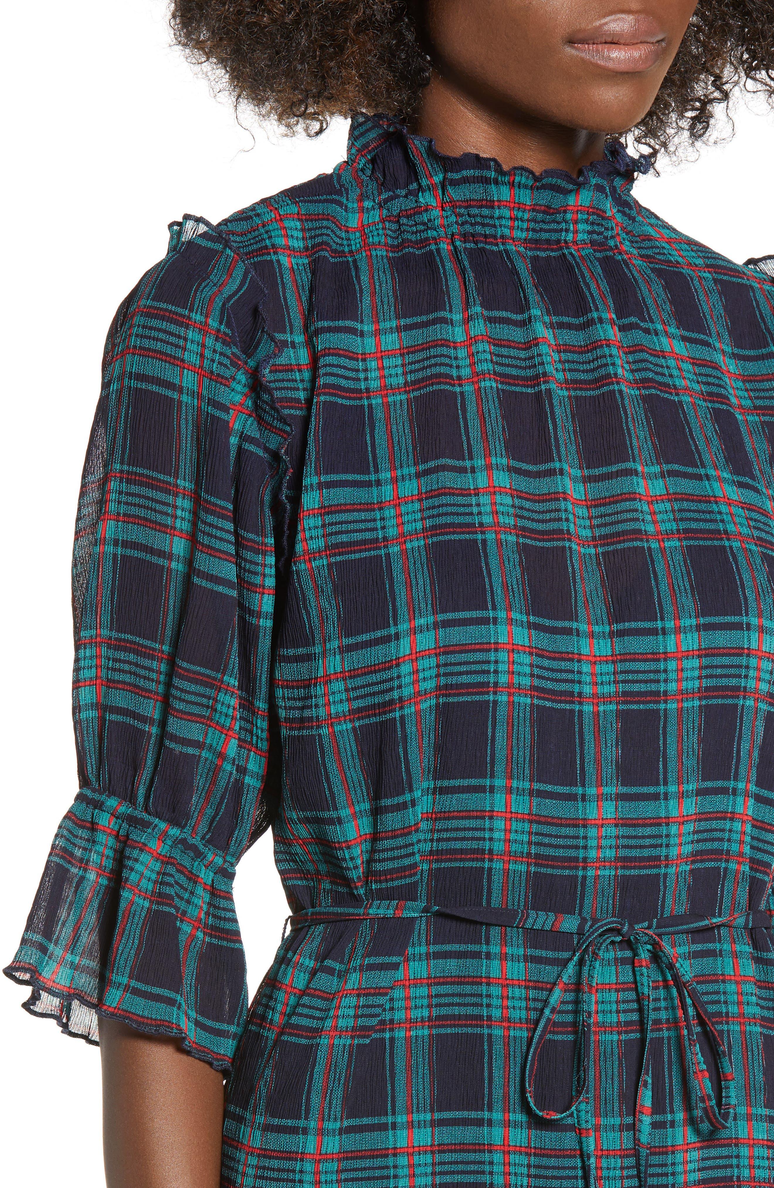 Zone Tartan Midi Dress,                             Alternate thumbnail 4, color,                             400