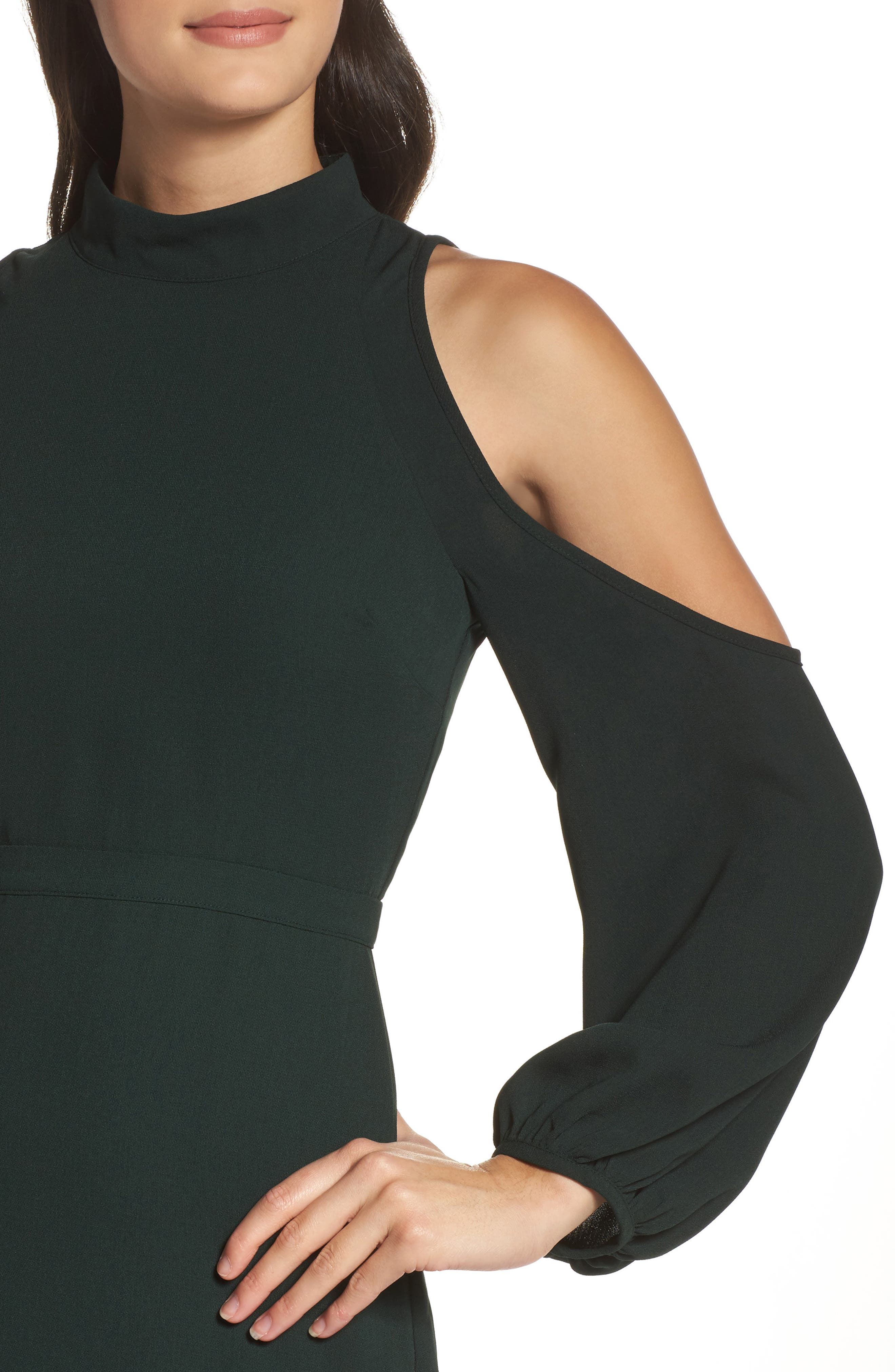 Power Shoulder Sheath Dress,                             Alternate thumbnail 8, color,