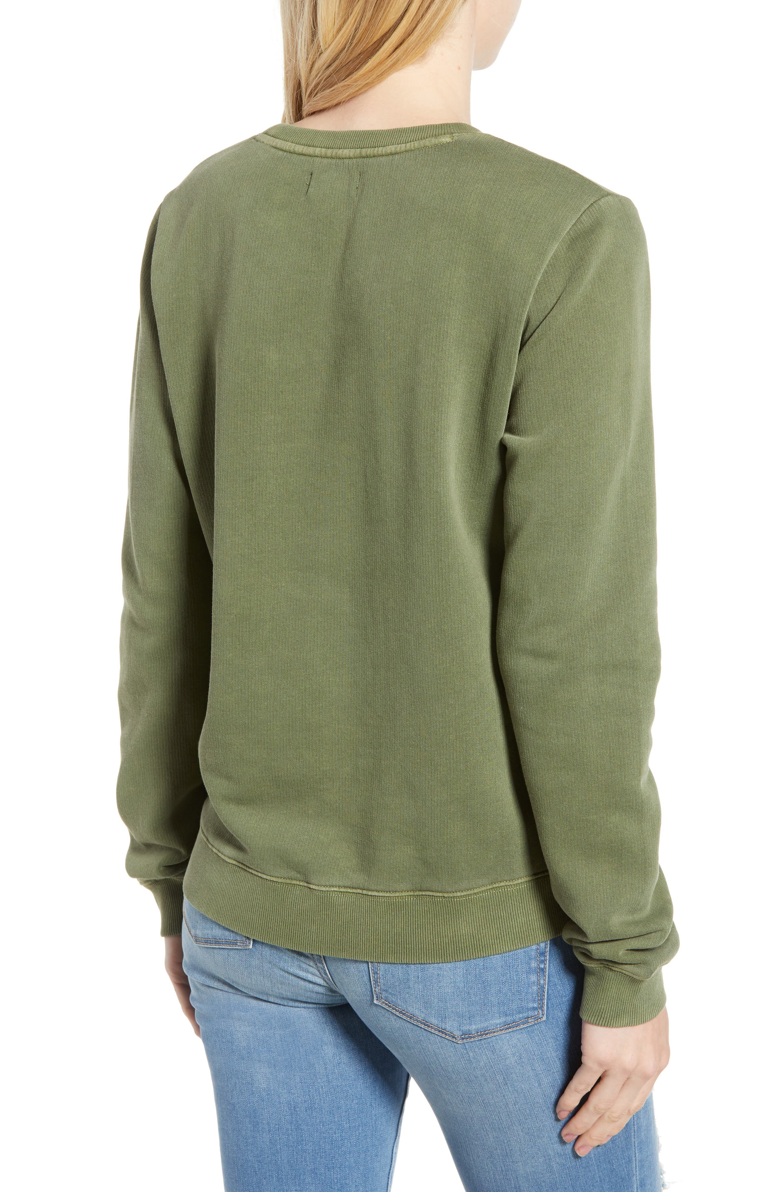 Embroidered Flowers Sweatshirt,                             Alternate thumbnail 2, color,                             OLIVE KNIT