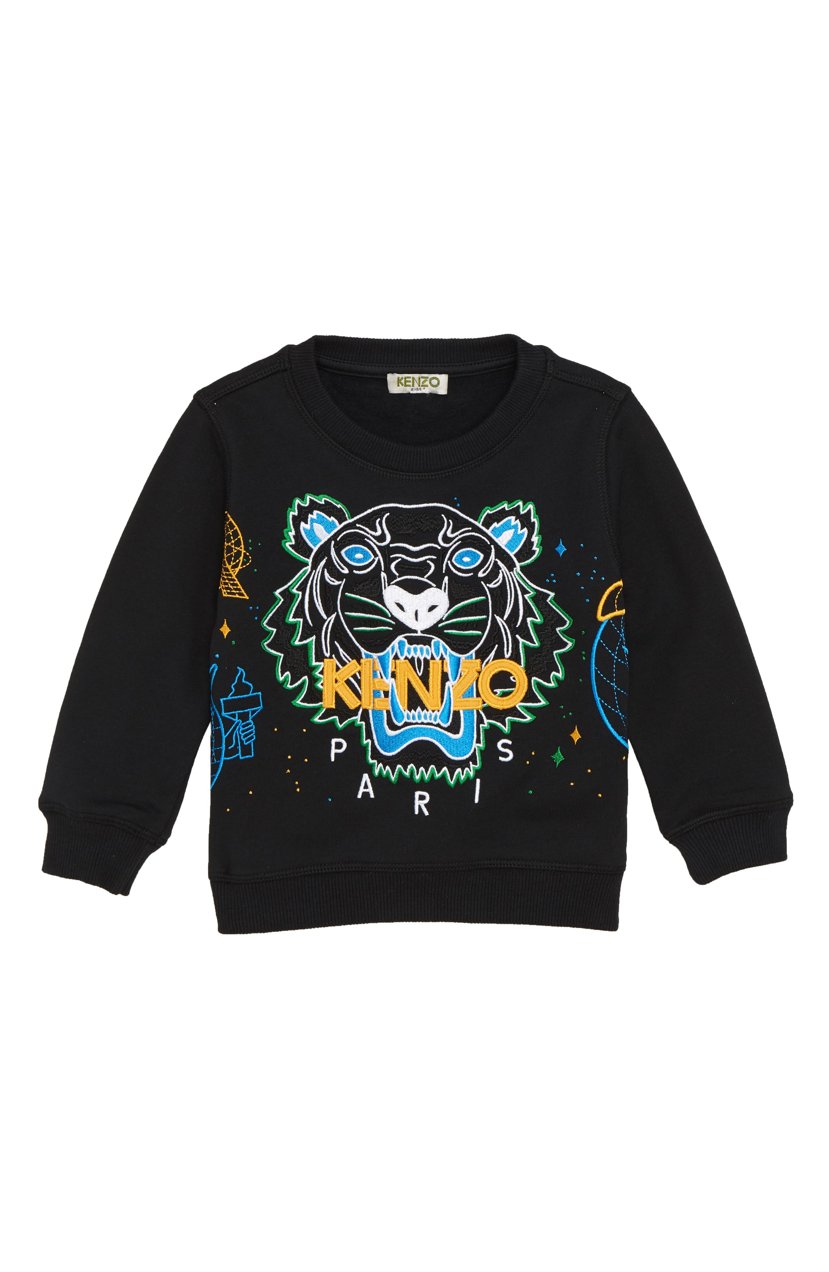 Tiger Iconic Embroidered Sweatshirt,                             Main thumbnail 1, color,                             BLACK