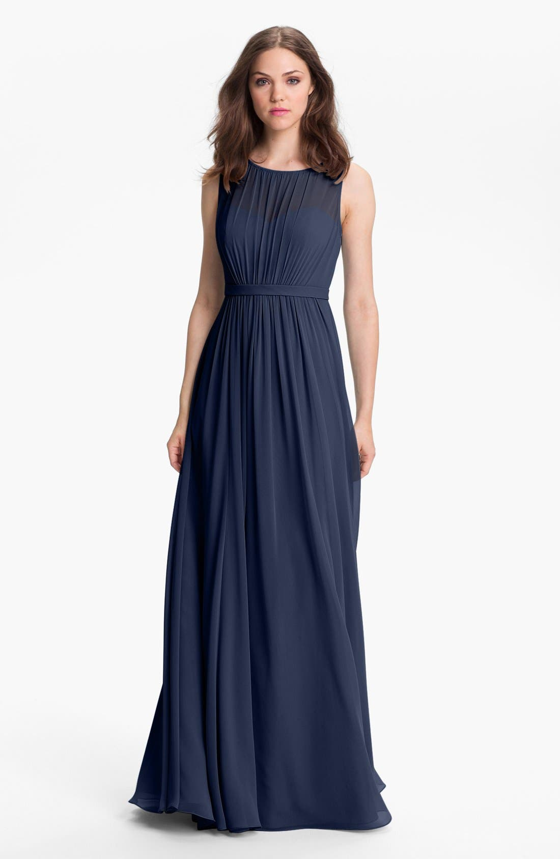 Vivienne Pleated Chiffon Gown,                             Main thumbnail 7, color,