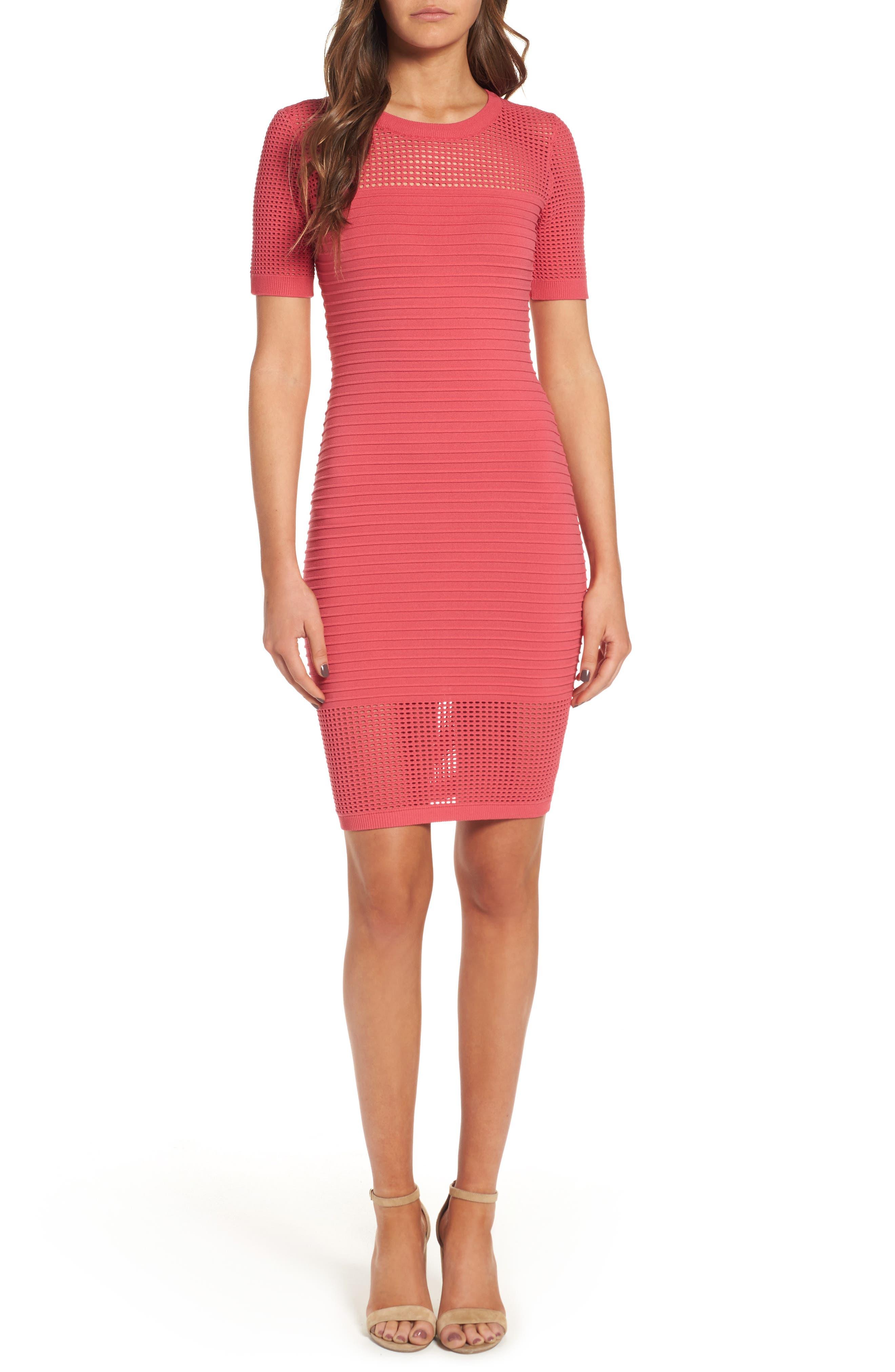 Open Weave Body-Con Dress,                             Alternate thumbnail 5, color,                             650