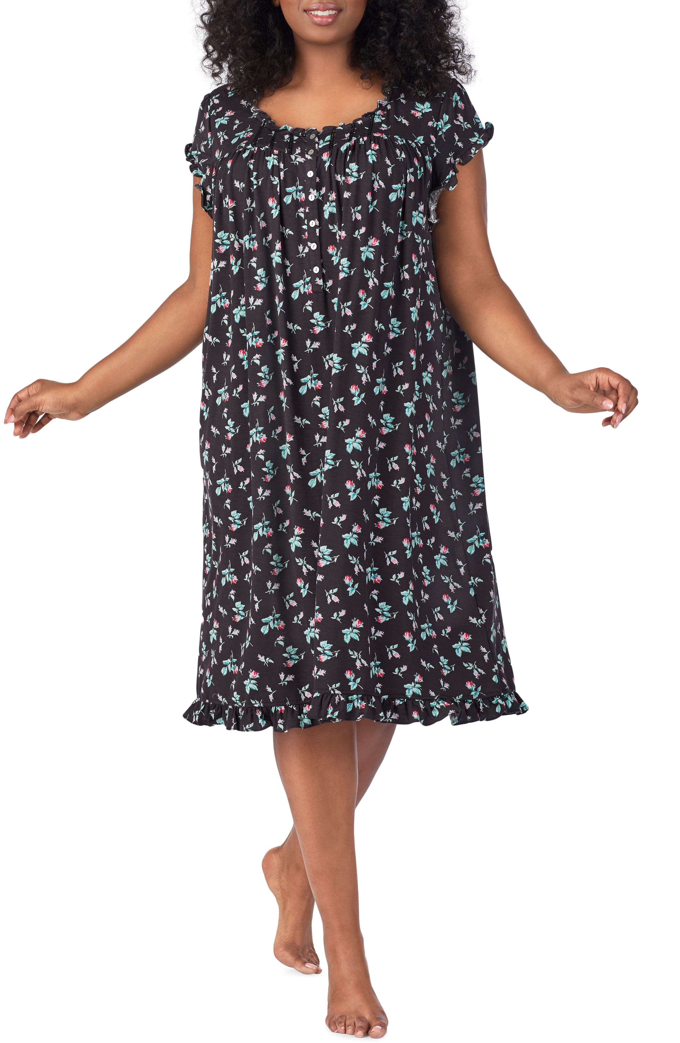 Plus Size Eileen West Waltz Nightgown, Black