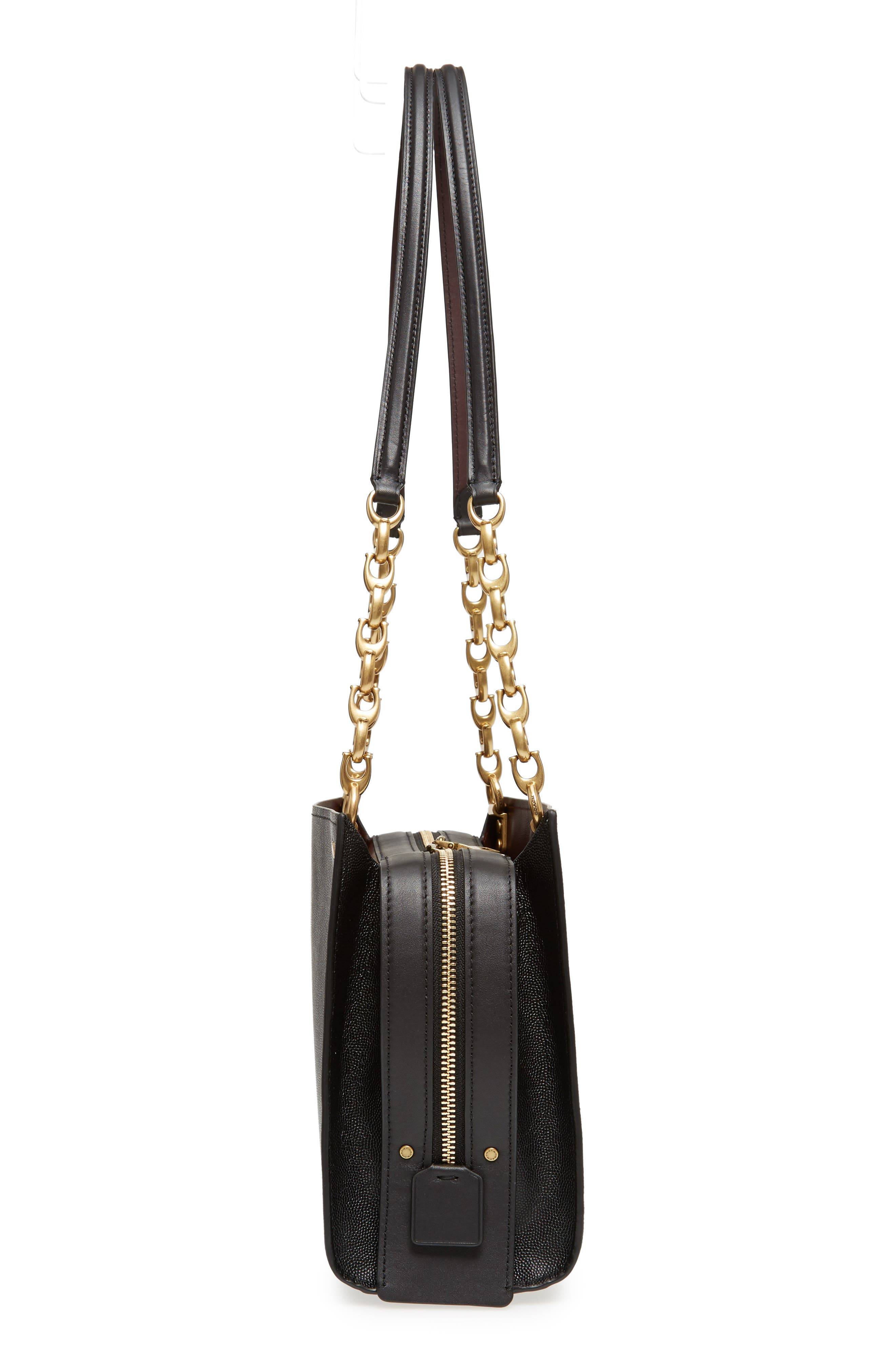Rogue Leather Shoulder Bag,                             Alternate thumbnail 5, color,                             BLACK
