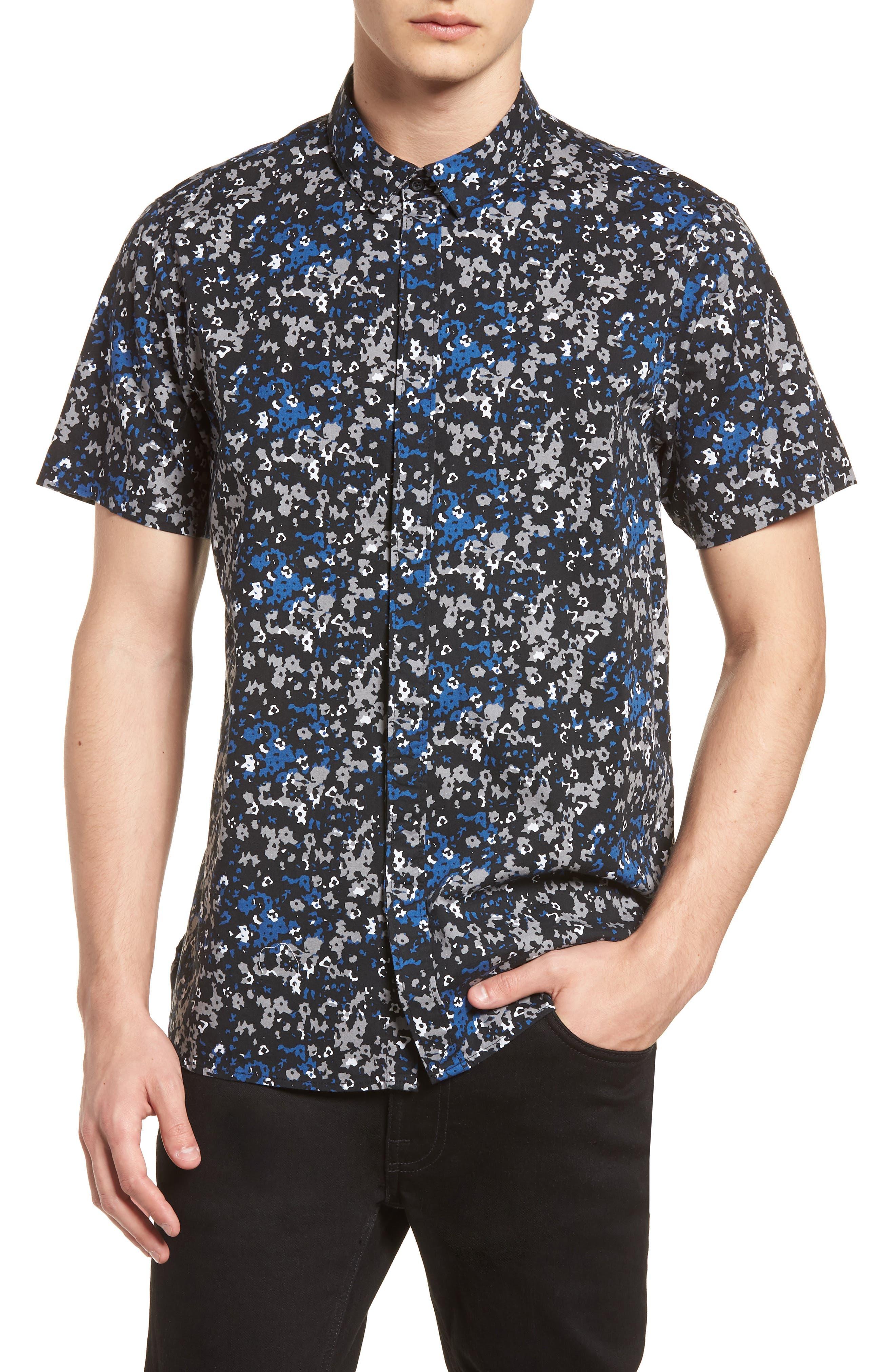 Fowler Woven Shirt,                         Main,                         color, BLACK MICRO FLORAL
