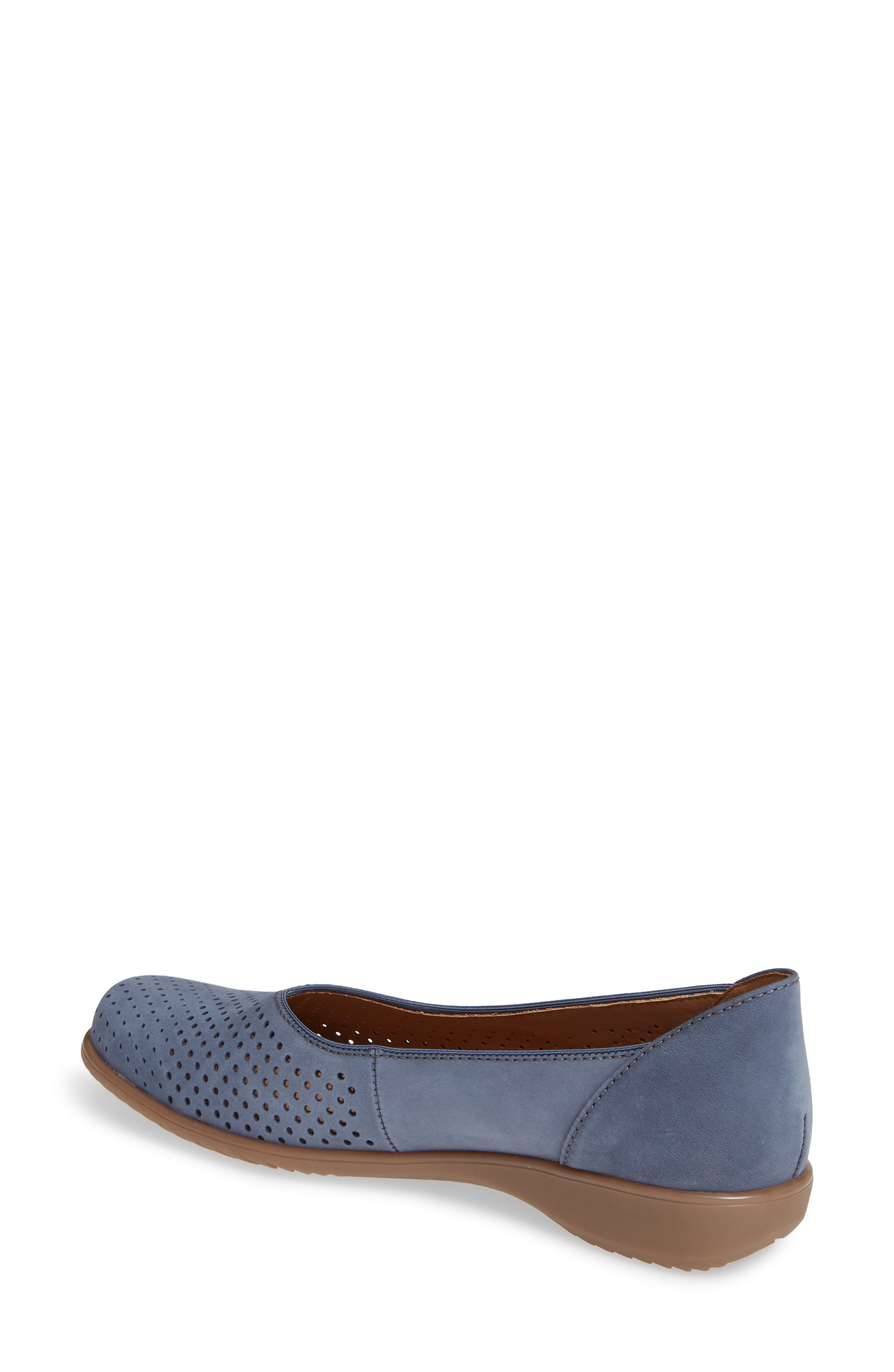 ARA,                             Avril Perforated Flat,                             Alternate thumbnail 2, color,                             JEANS NUBUCK LEATHER