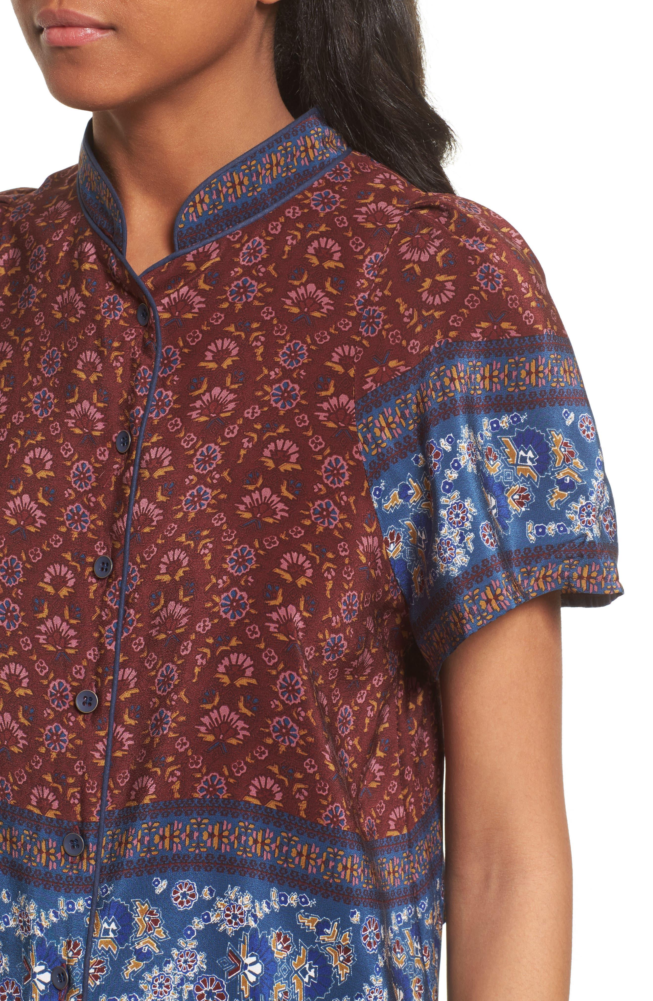 Mandarin Collar Silk Top,                             Alternate thumbnail 4, color,                             600