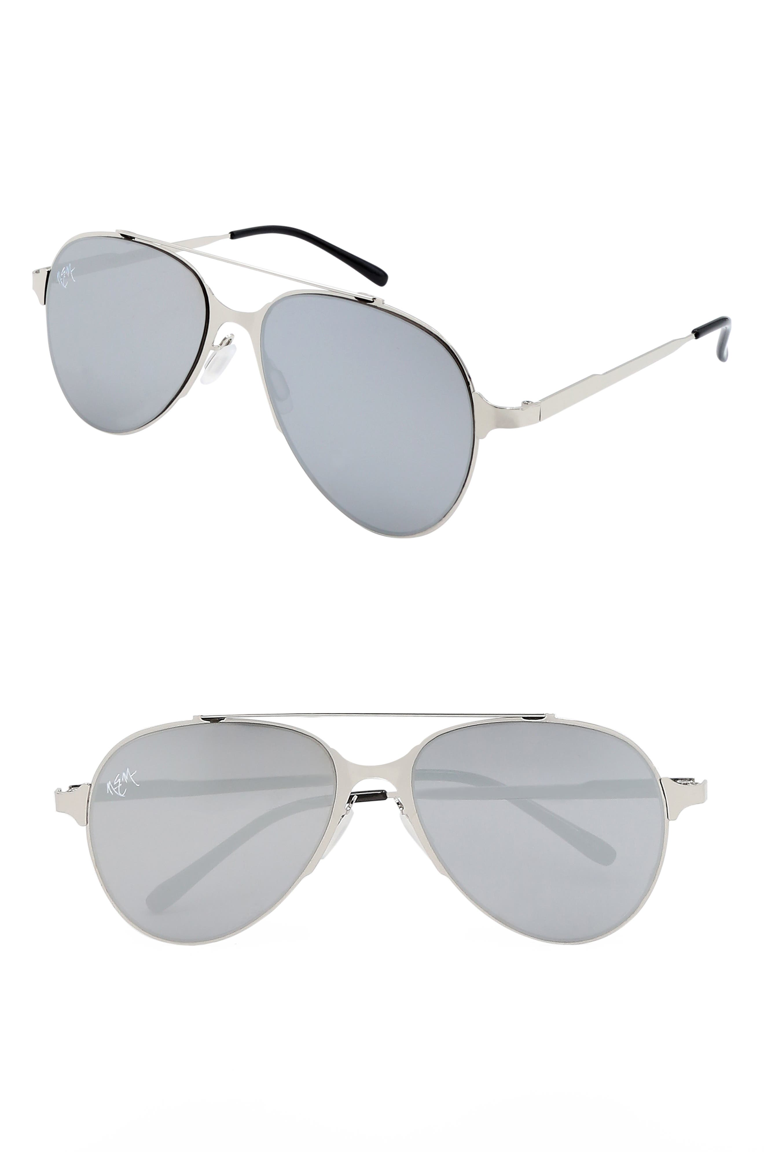 55mm Mirrored Aviator Sunglasses,                             Main thumbnail 1, color,                             SILVER W MIRROR LENS